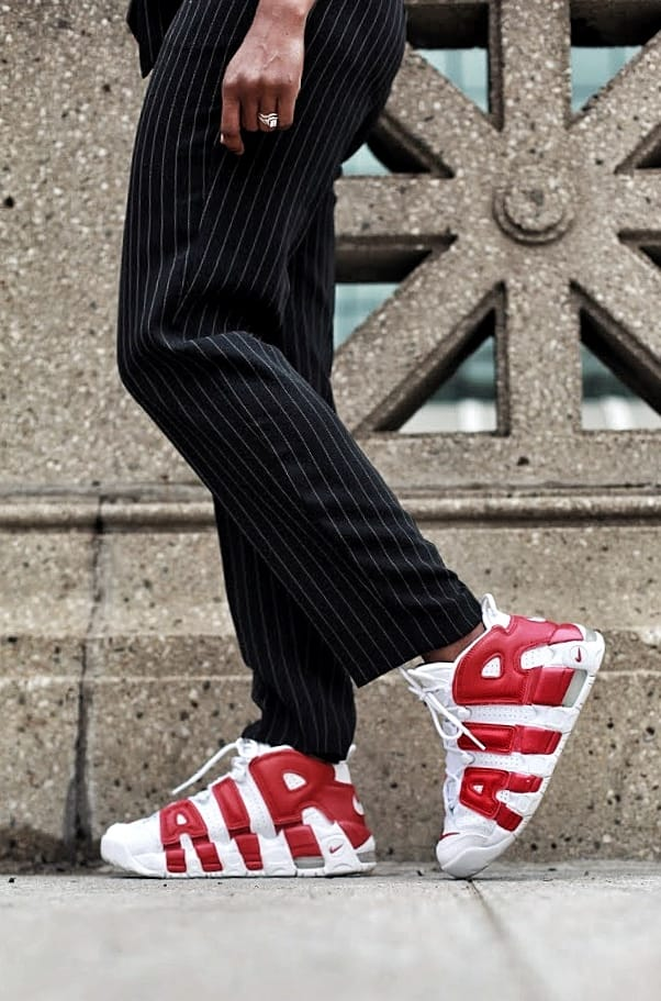 how to wear sneakers with a suit express pinstripe suit nike uptempo sneakers