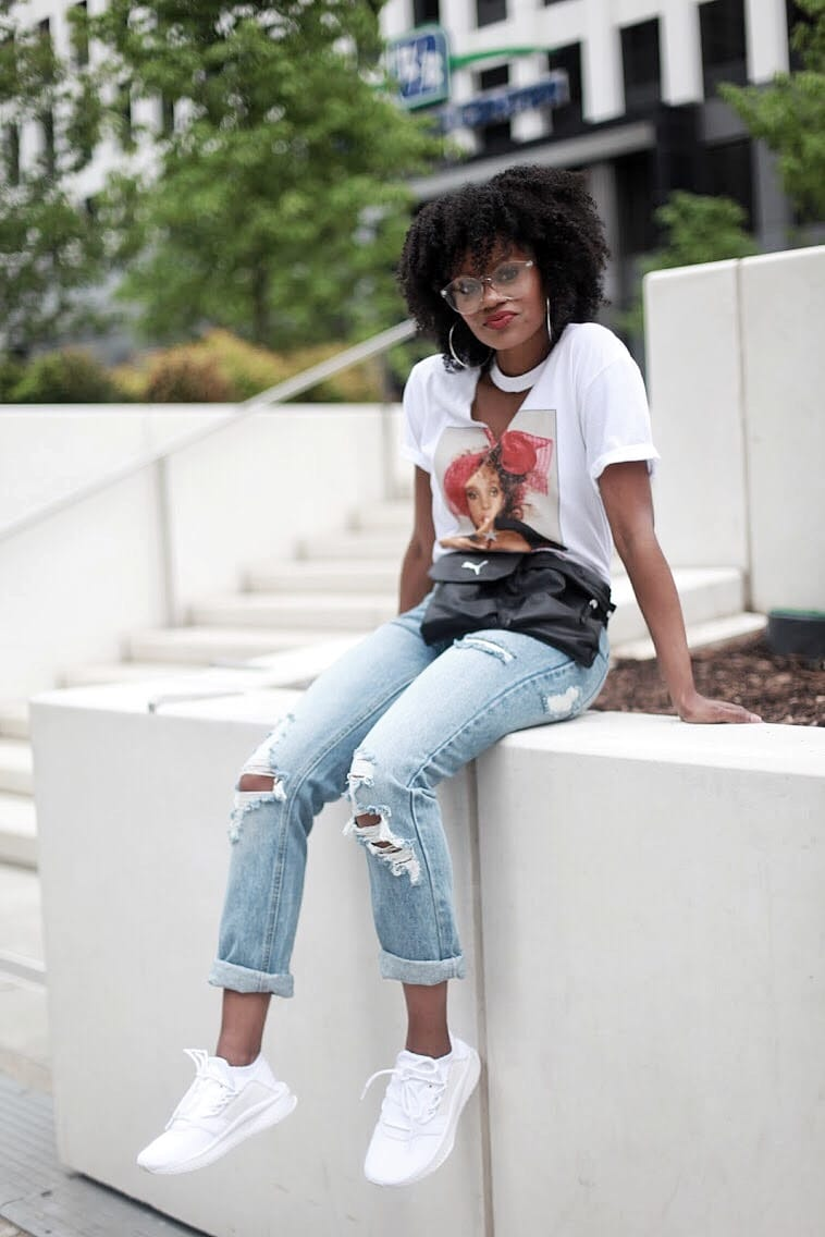 puma tsugi outfit whitney houston graphic tee distressed jeans natural hair