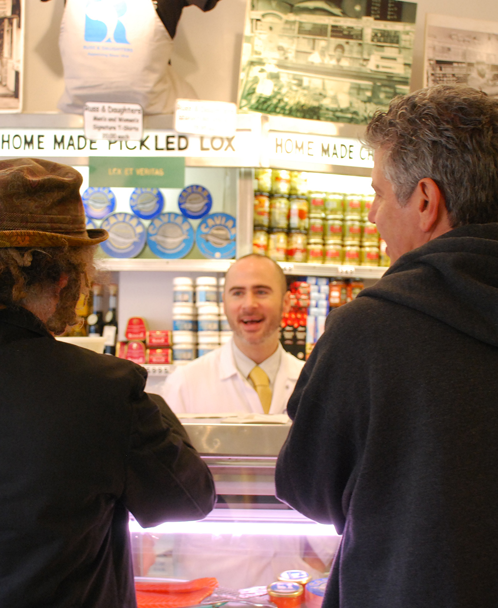 Staff and customers at counter