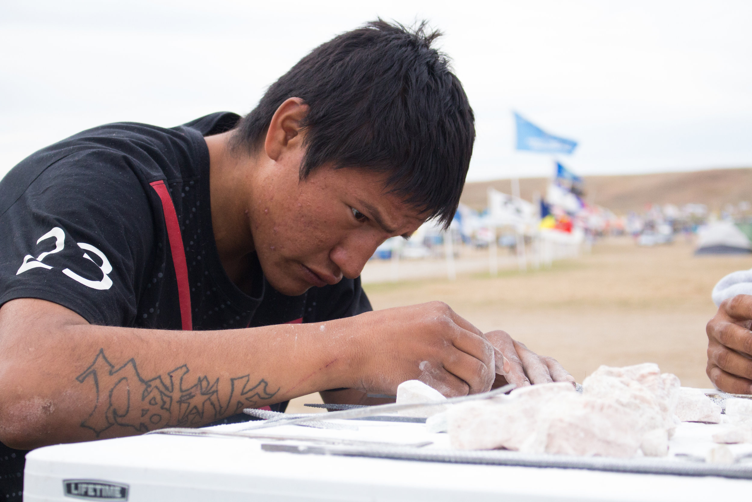 Carving at Standing Rock