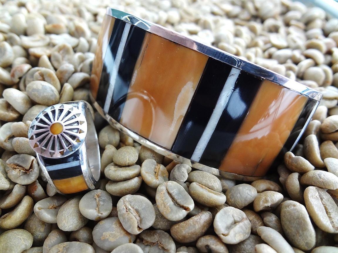 Fossilized Ivory Bracelet and Ring Set