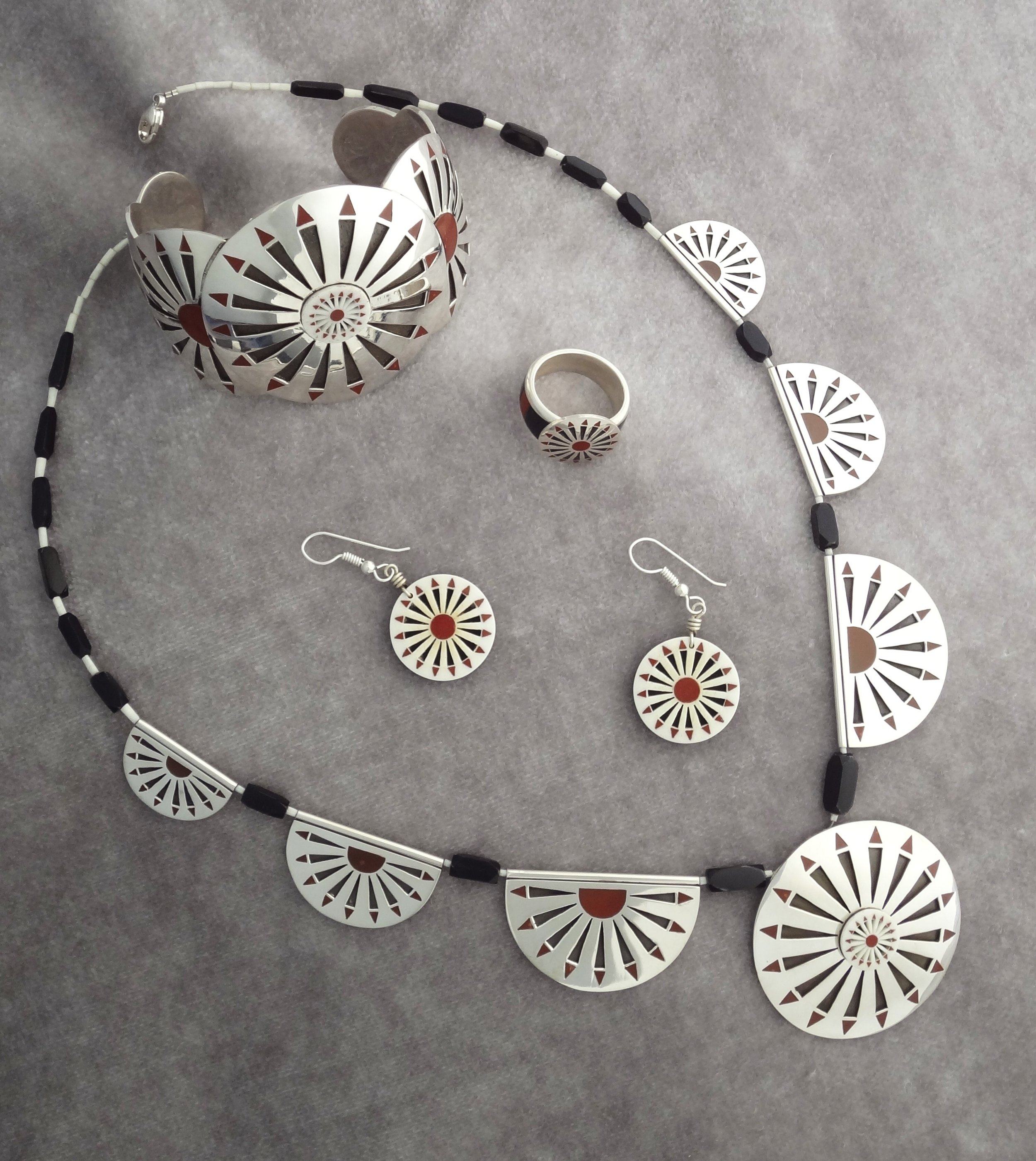 Silver Circular Feather Full Set