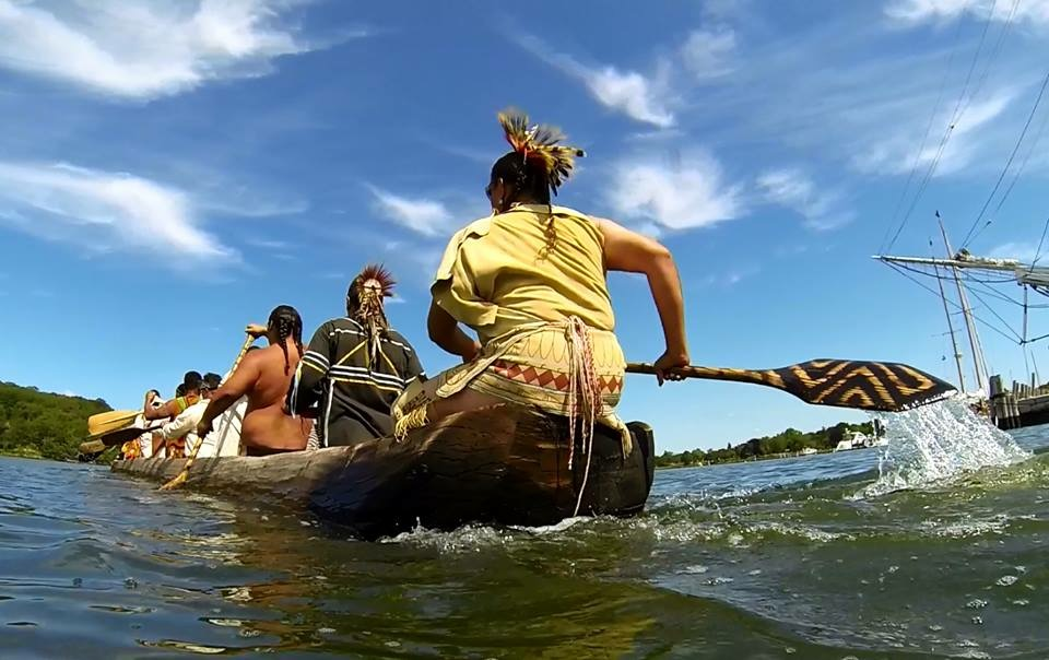 Paddling Down Mystic River, Connecticut on  Nikomis'  maiden voyage with an Intertribal Native boat Crew: Aquinnah Wampanoag, Shinnecock, Mashantucket Pequot and Schacticoke, August 8, 2015.