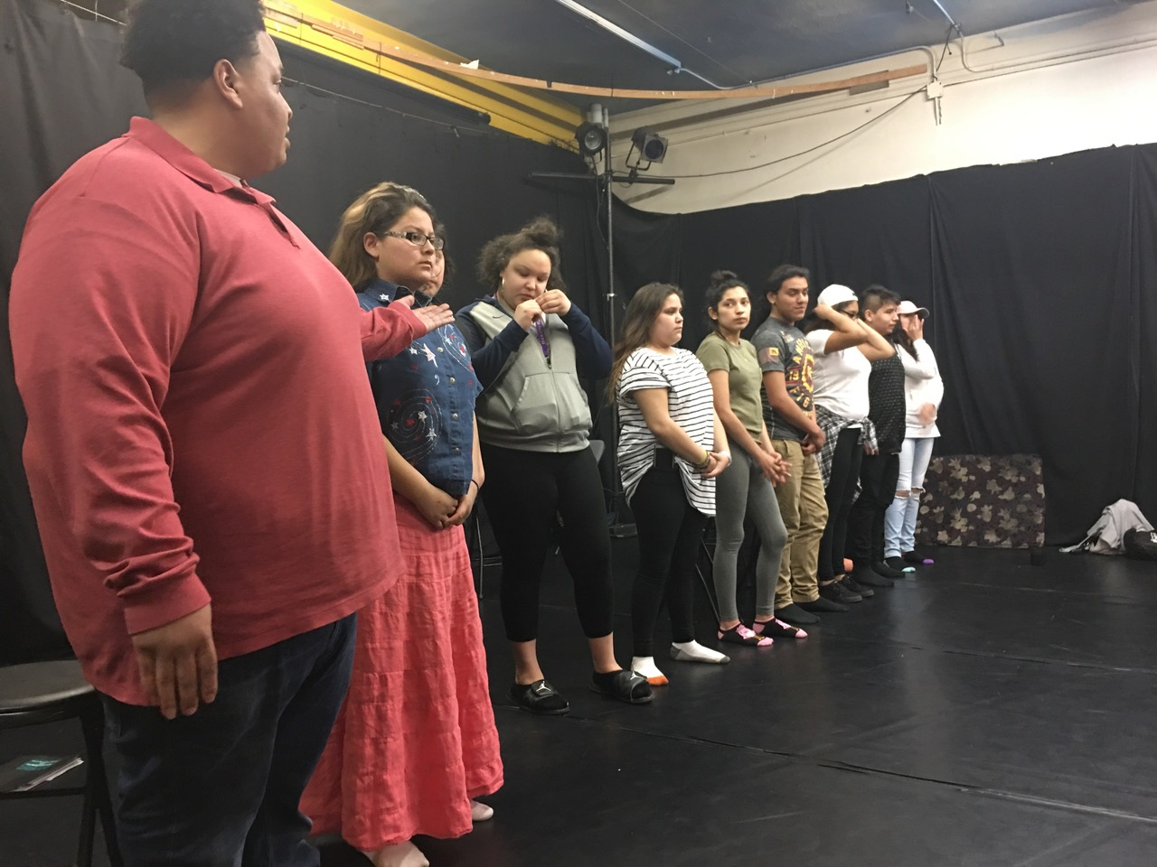 The Ikidowin Peer Educators and Acting Ensemble introduce themselves at the 2017 Fellowship Convening opening at Pangea World Theater.
