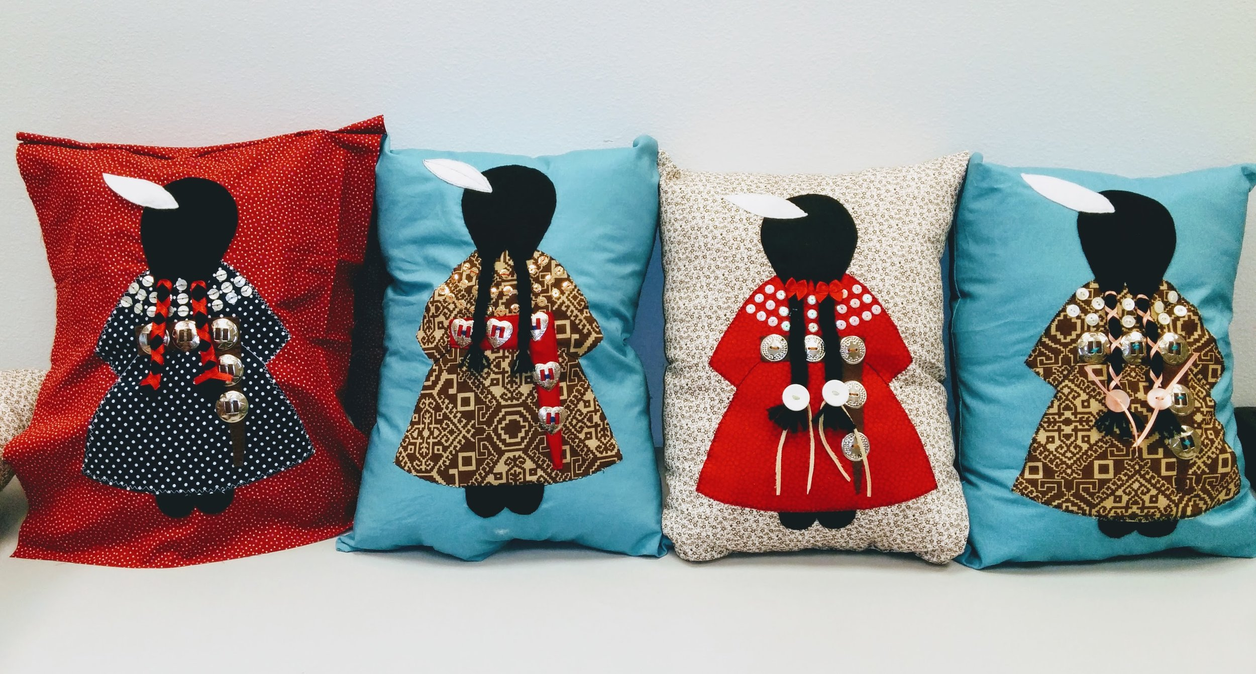 Pillows sewn by the sewing circle that Chelsea helped organize. Photo couresty of Chelsea Wilson (Rosebud).