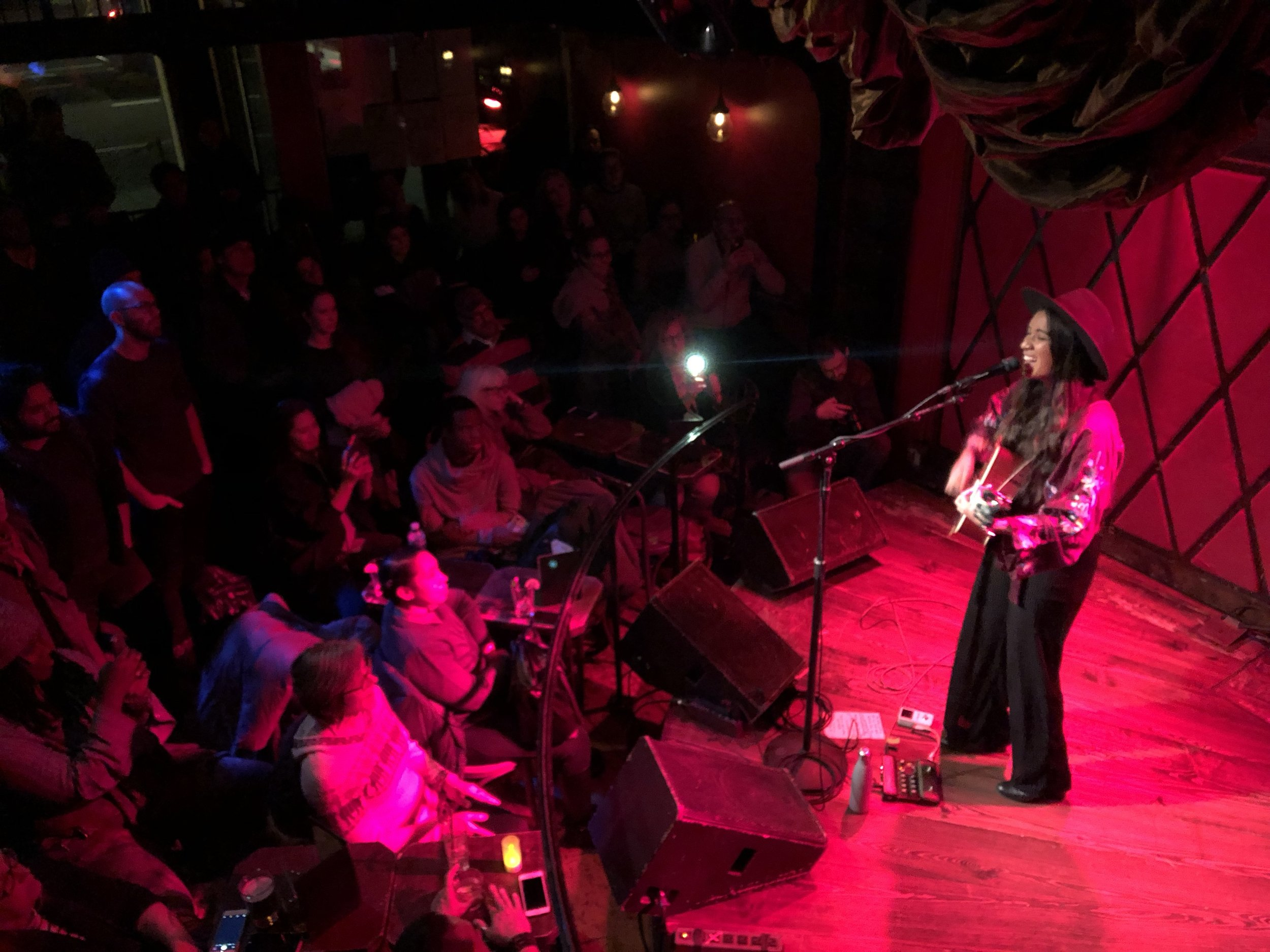 2018 Artist in Business Leadership Fellow, Raye Zaragoza (O'odham, Mexican, Taiwanese and Japanese), performing at the Rockwood Music Hall.