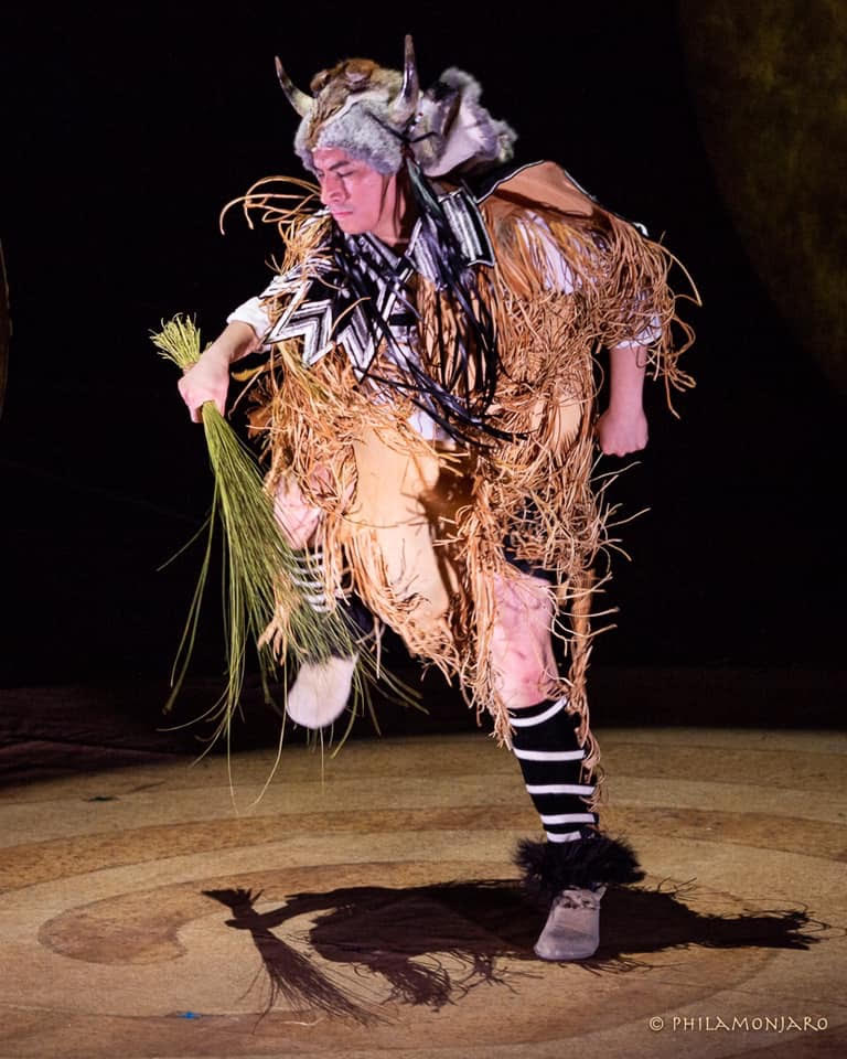 "Sheldon performing during the Opening Night of""Ajijaak on Turtle Island"" at Studebaker Theater in Chicago. Photo by Philamonjaro."