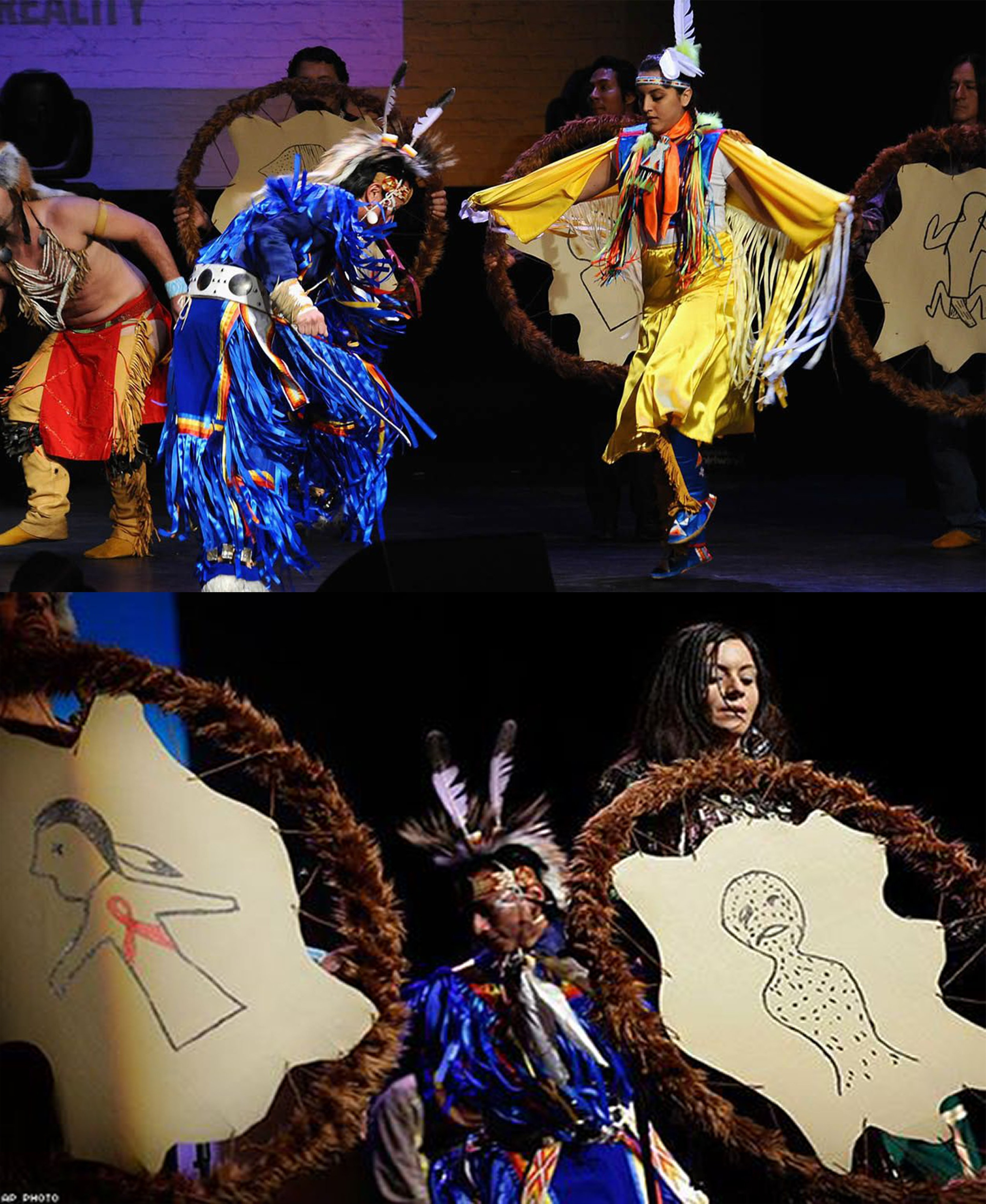 A previous Winter Count project Sheldon worked on. Title: Apollo Winter Count - American Indian Community House. Medium: Visual Art/Performance Art. Date Completed: World AIDS Day, December 1st, 2015. Performed at: Apollo Theater, Harlem, New York