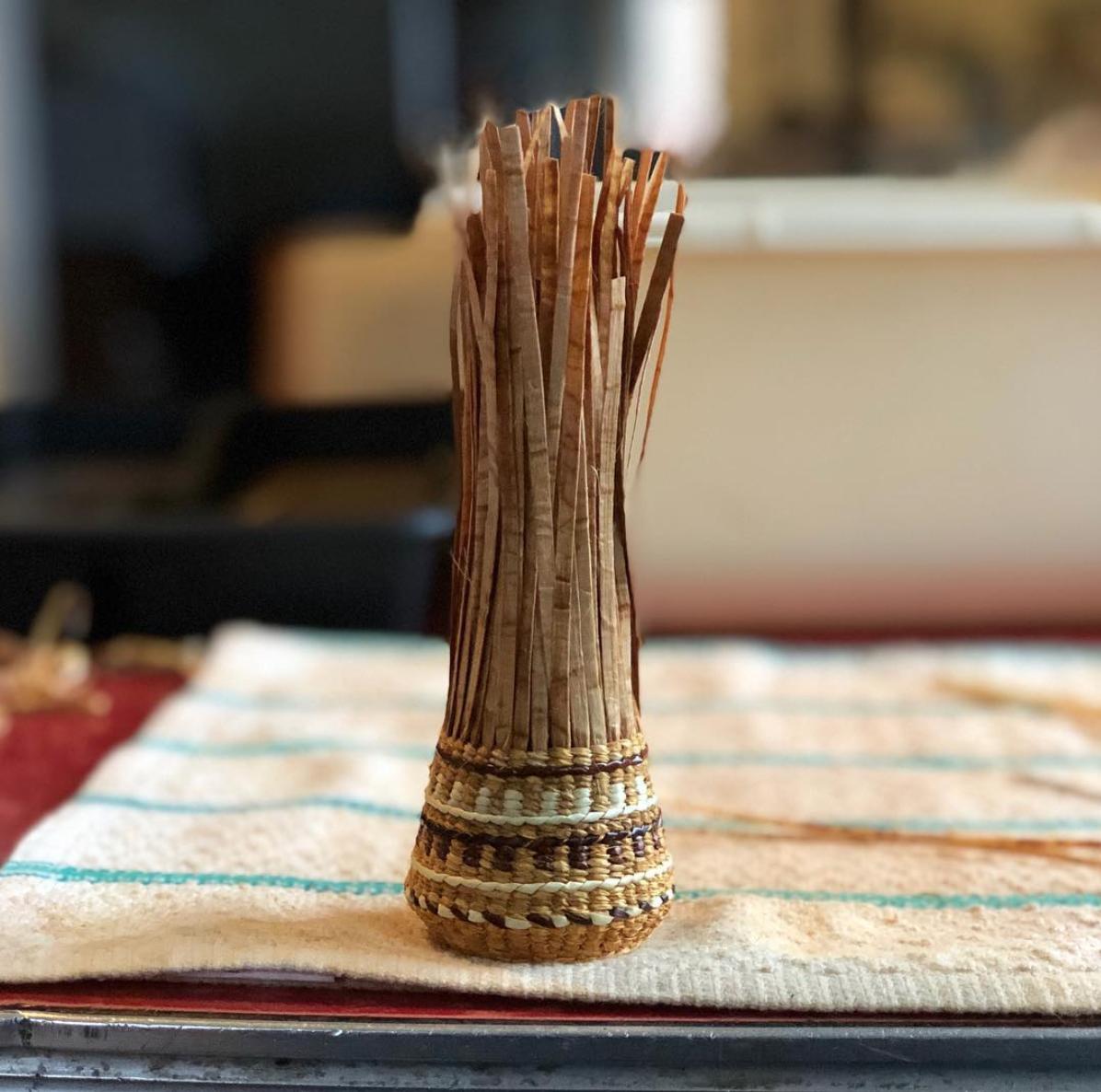 Basket and photo by Kandi McGilton (Metlakatla Indian Community)