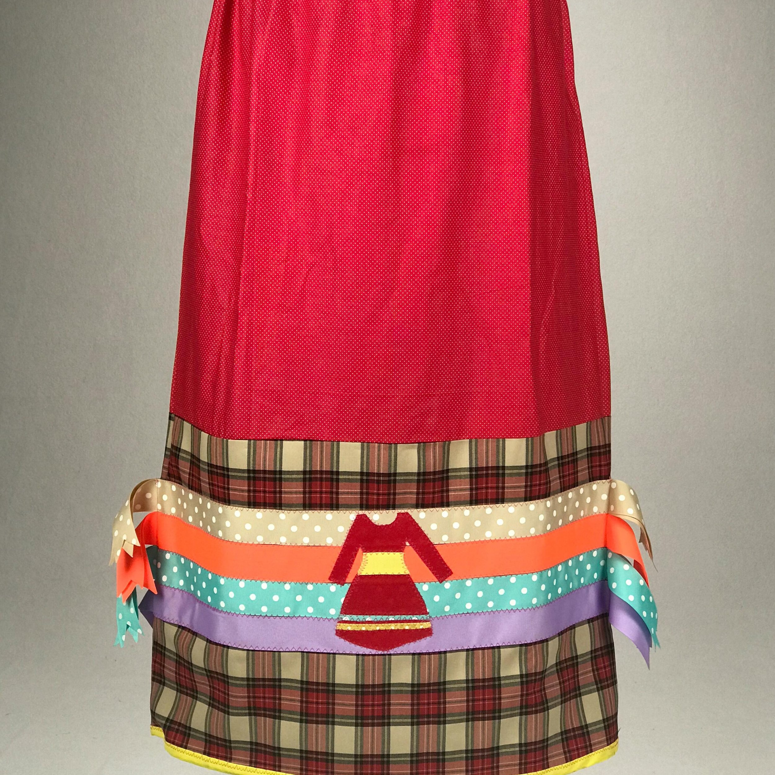 """Melissa's """"MMIW Ribbon Skirt"""" - A ribbon skirt created to honor Missing and Murdered Indigenous Women, an epidemic that has gained increased awareness over the last decade."""