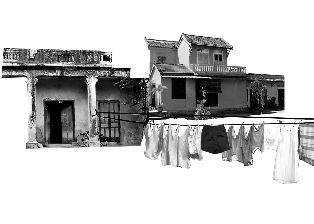 Collage of old French colonial houses in the country side of Vietnam with a clothing line.