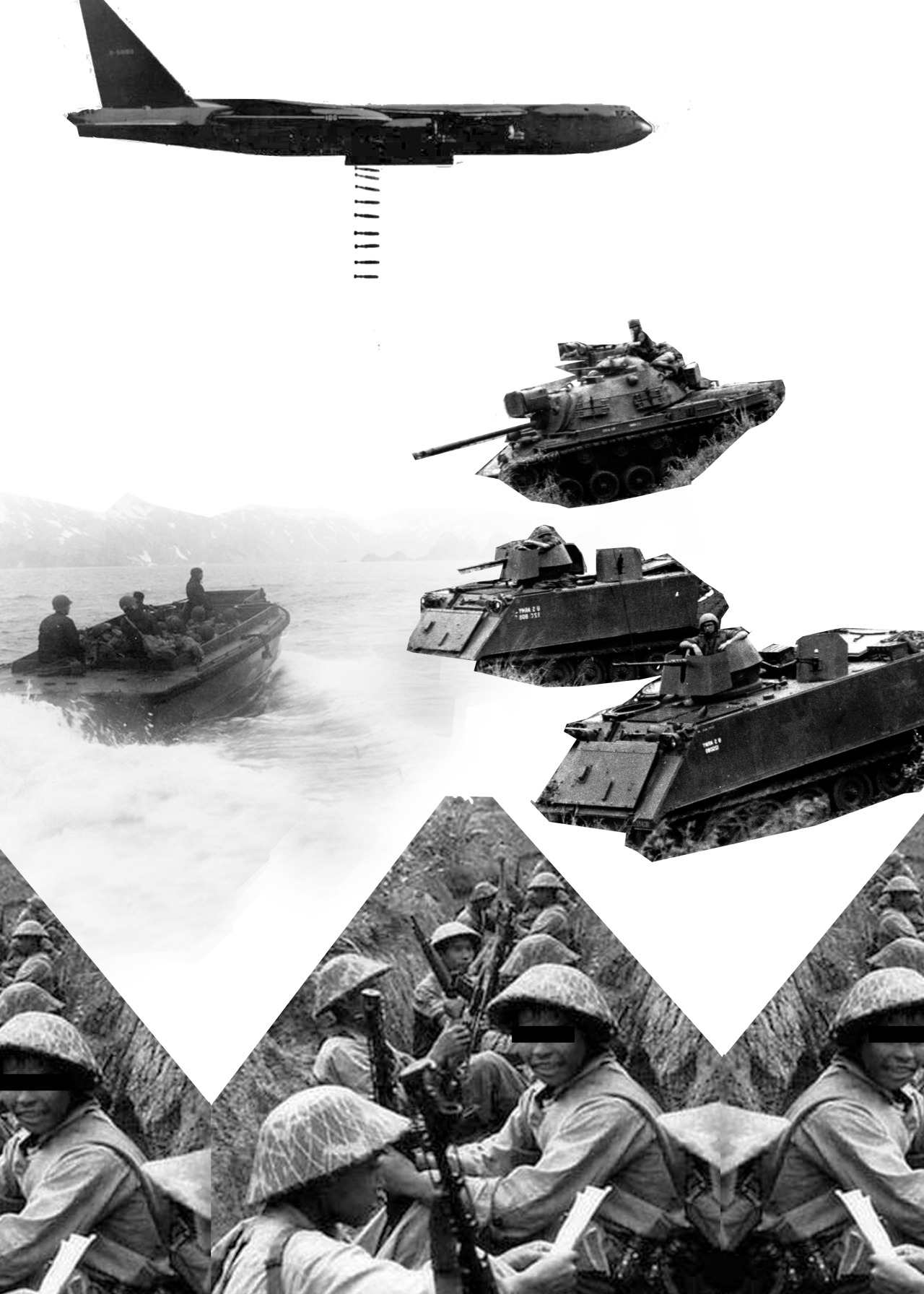 Collage of Vietnamese soldiers in the trenches with a black bar over one of their eyes. Three American tanks are coming in. A boat is heading away from the trenches. An airplane overhead is dropping bombs.