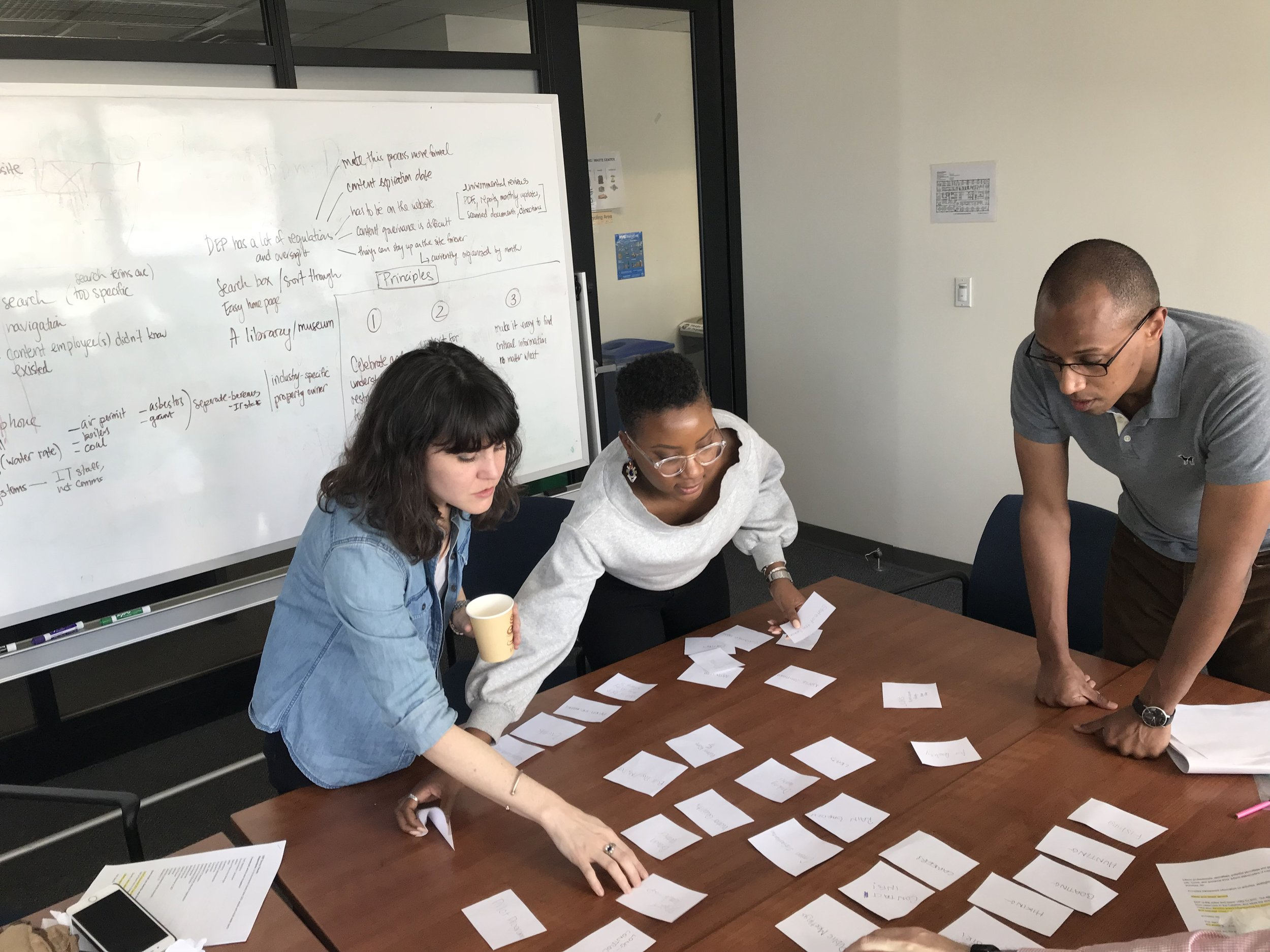 On April 18th, our team hosted a co-design session with members of DEP's digital communications team. This image shows the DEP team working on an affinity mapping exercise.