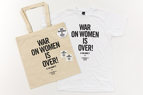 "Tote bag, button, t-shirt, and temporary tattoo with the phrase ""War on Women is Over! If You Want It"""