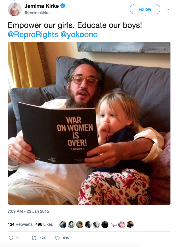 "Jemima Kirke's then husband reads the ""War on Women is Over! If You Want It"" booklet to their daughter"