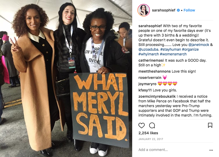 "Actress Uzo Aduba wearing the ""War on Women is Over! If You Want It"" T-shirt at the Women's March in 2017 with Sarah Sophie Flicker and Janet Mock"