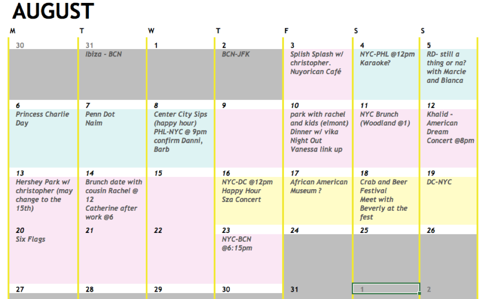 An example of a real schedule I'd made