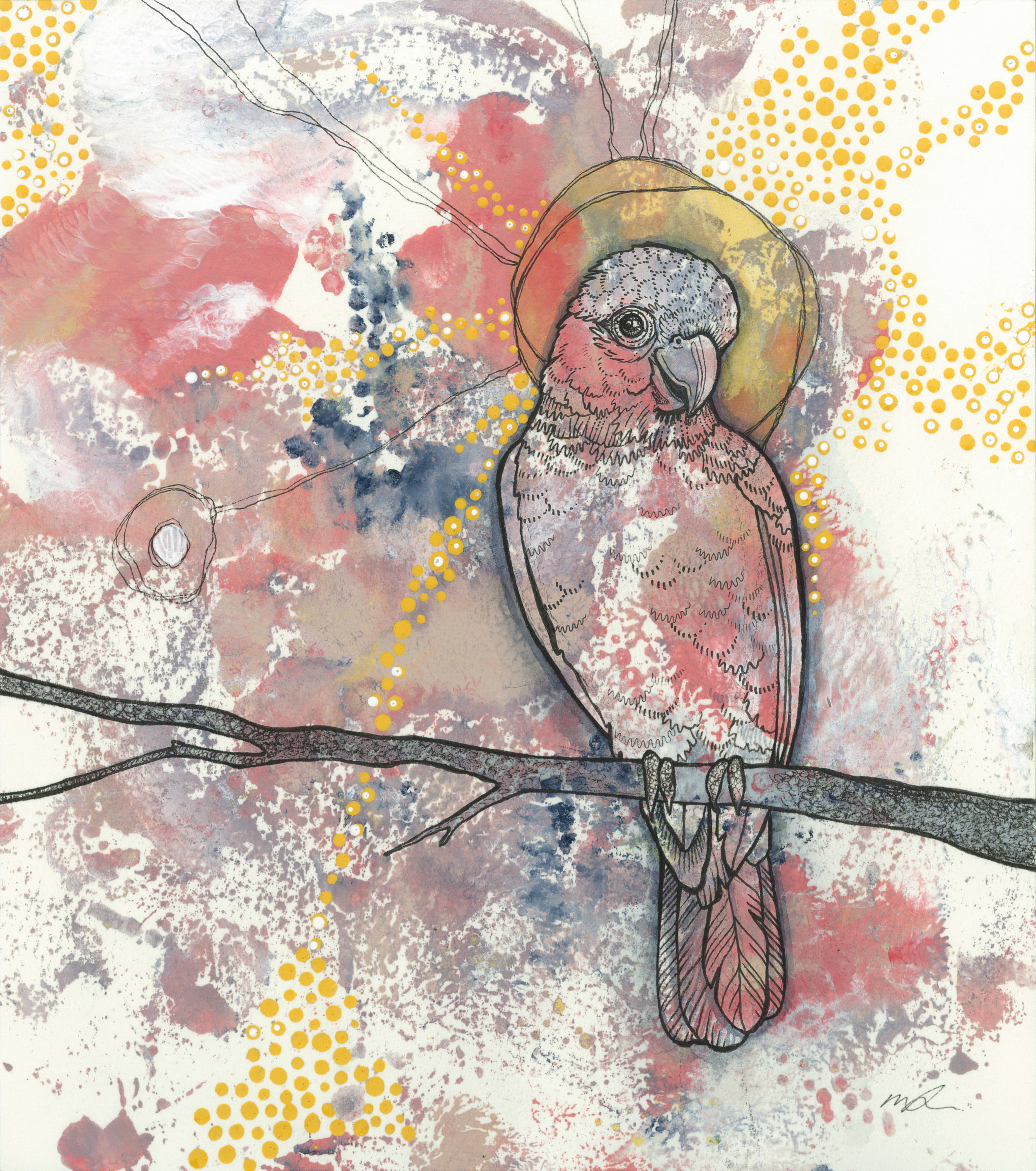 In a Flutter 2018 Ink, Watercolour and Acrylic on 100% cotton paper
