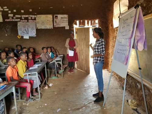 Under WEEMA's leadership, midwives provide training on menstrual health to 405 students in the Saruma School in rural Tembaro, Ethiopia.