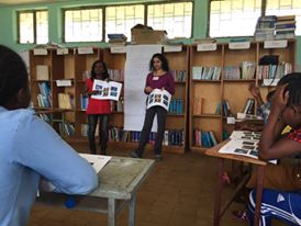 Samrawit teaching primary school girls about gender equality