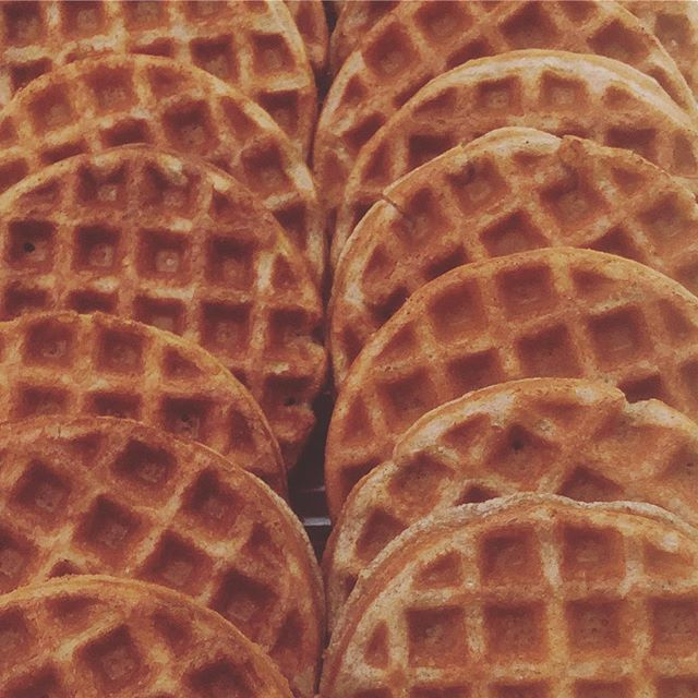 reminiscing about the stacks of gf bambara waffles that we served up with @foodtechconnect last month. it's about time to fire up the irons again 🔥🥞 . . . #glutenfreewaffles #bambarawaffles #bambarabeanwaffles #tastyaf #gf #glutenfree #foodtech
