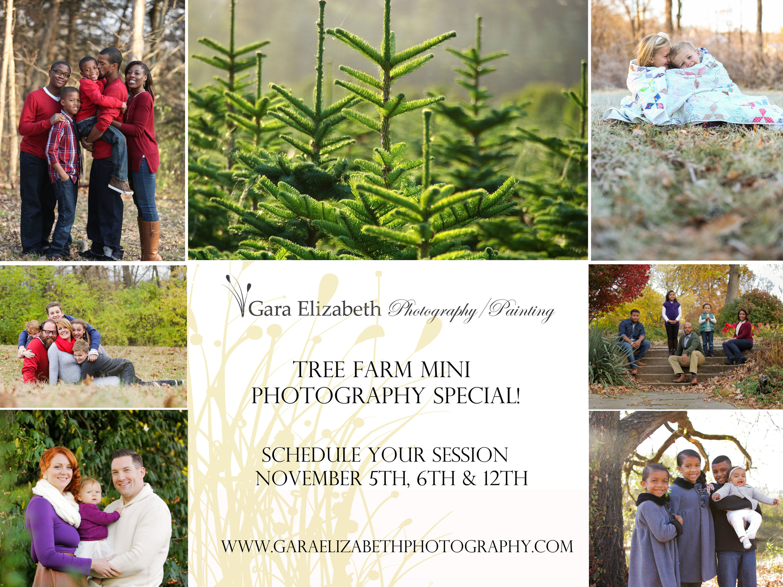 TREE FARM SESSIONS ARE DESIGNED TO BE:   20 minutes  Up to 5 family members (each additional person over five, $25)  10 - 12 edited images with photo release  Digital image sent through Drop Box   SESSSIONS TAKE PLACE ON:   November 5th, 6th & 12th  7:30AM-9:30AM/ 4:30PM-6:30PM   SESSIONS TAKE PLACE AT:   16704 New Halls Ferry Road (New Halls Ferry & Shackelford Road) Florissant, MO 63034   PACKAGE PRICE:    $275