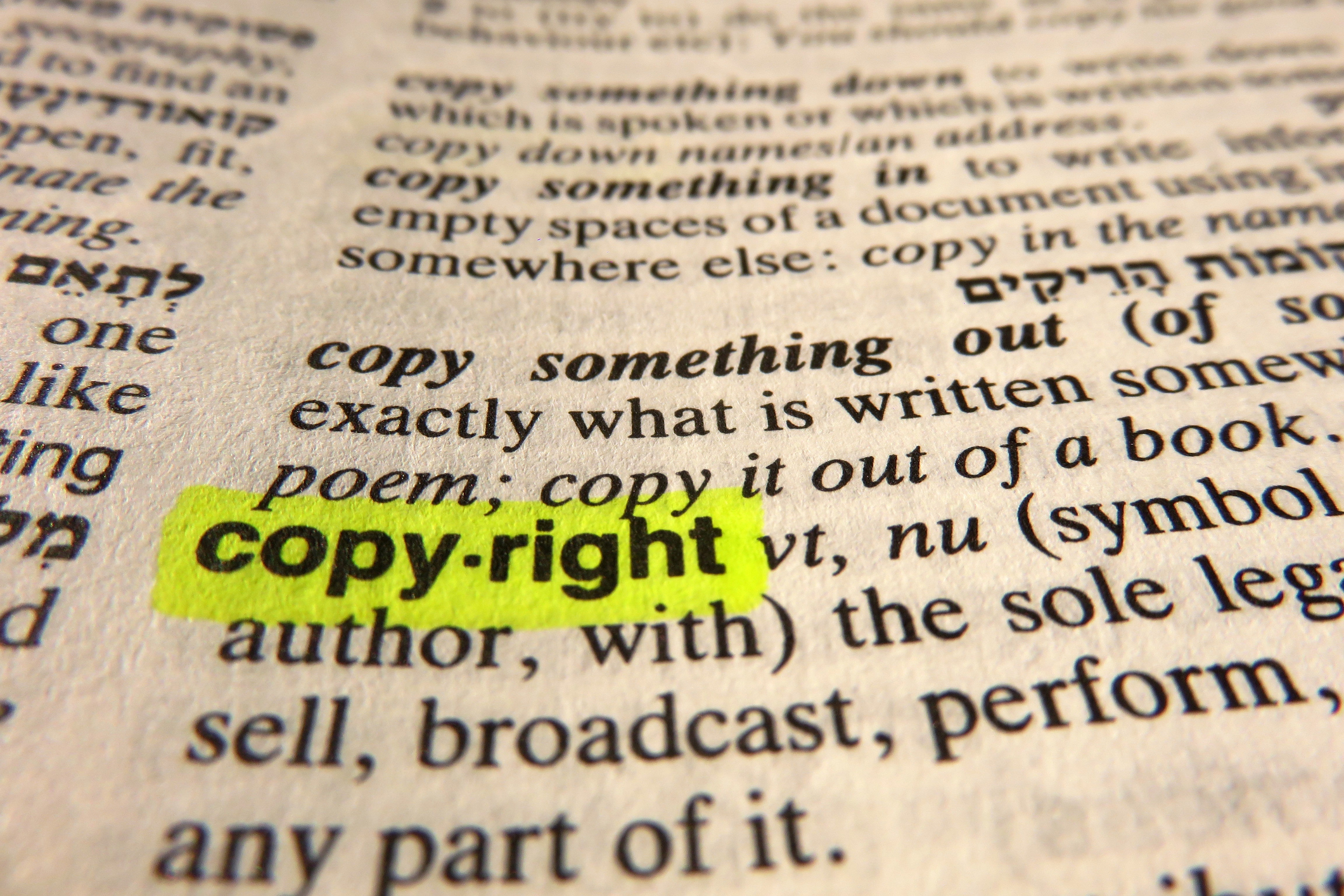COPYRIGHTS - Copyrights protect original expressions of ideas in various forms, such as stories, poems, plays, dances, paintings, photographs, sculpture, sound recordings, architectural designs, software, and radio and television broadcasts.