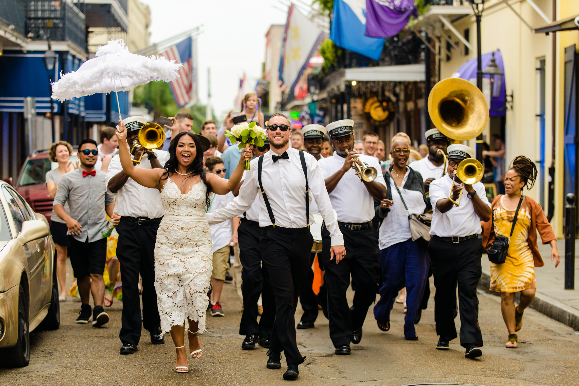 A New Orleans wedding second line parade