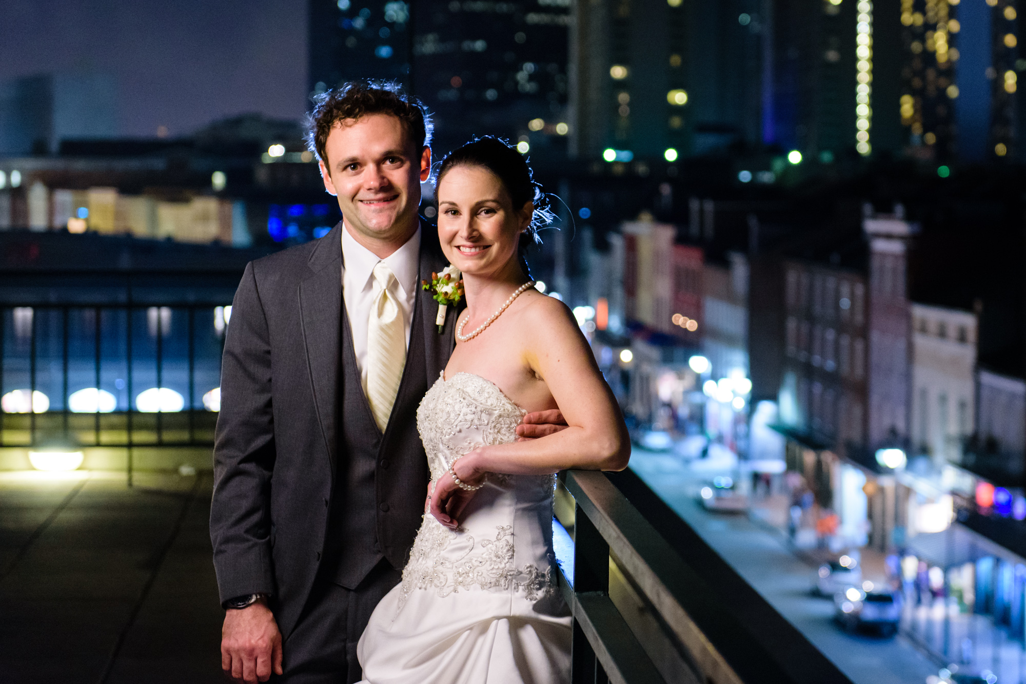 Portrait of a newly married couple at the Riverview Room's balcony, New Orleans