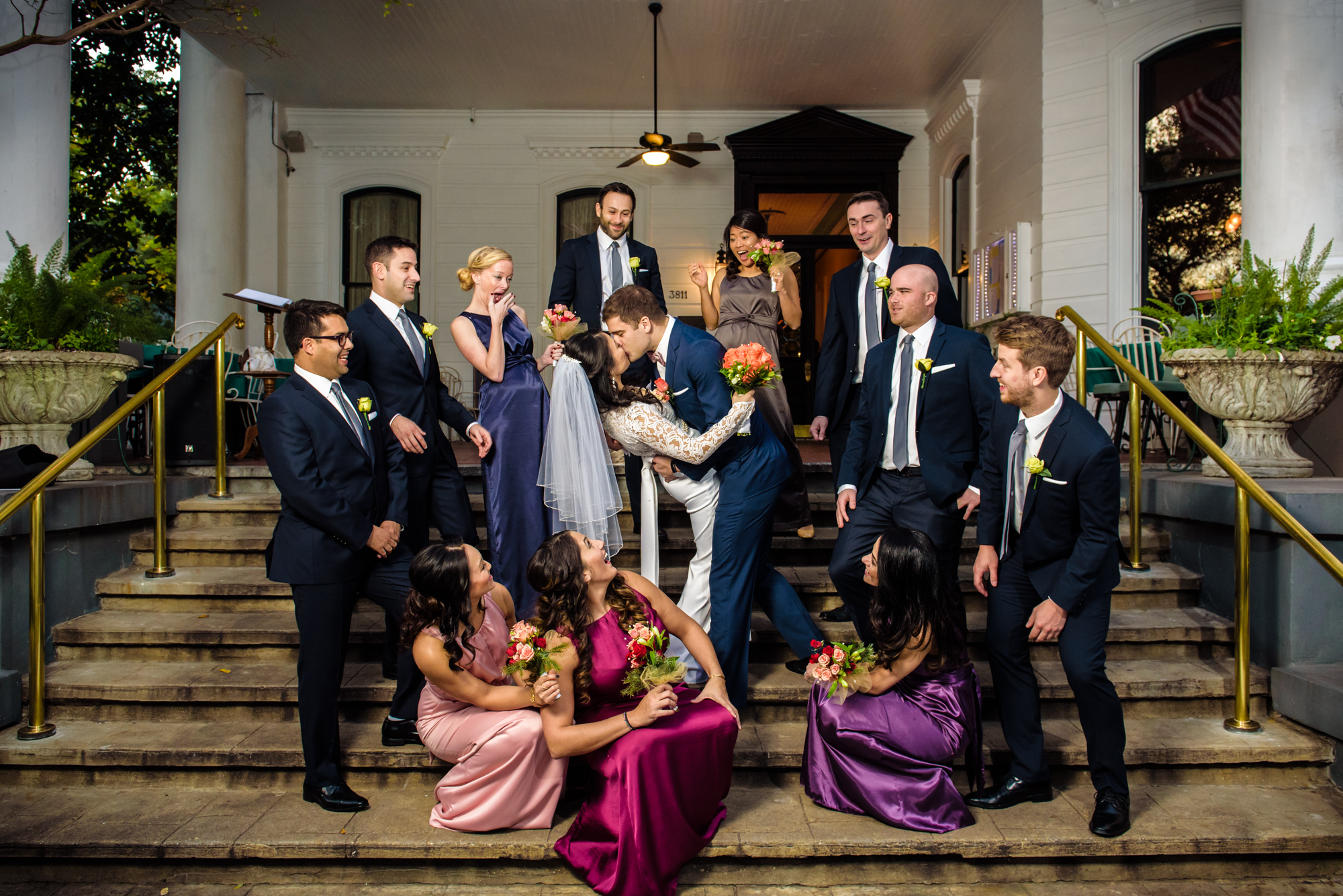 Bridal party portrait, Columns Hotel, New Orleans