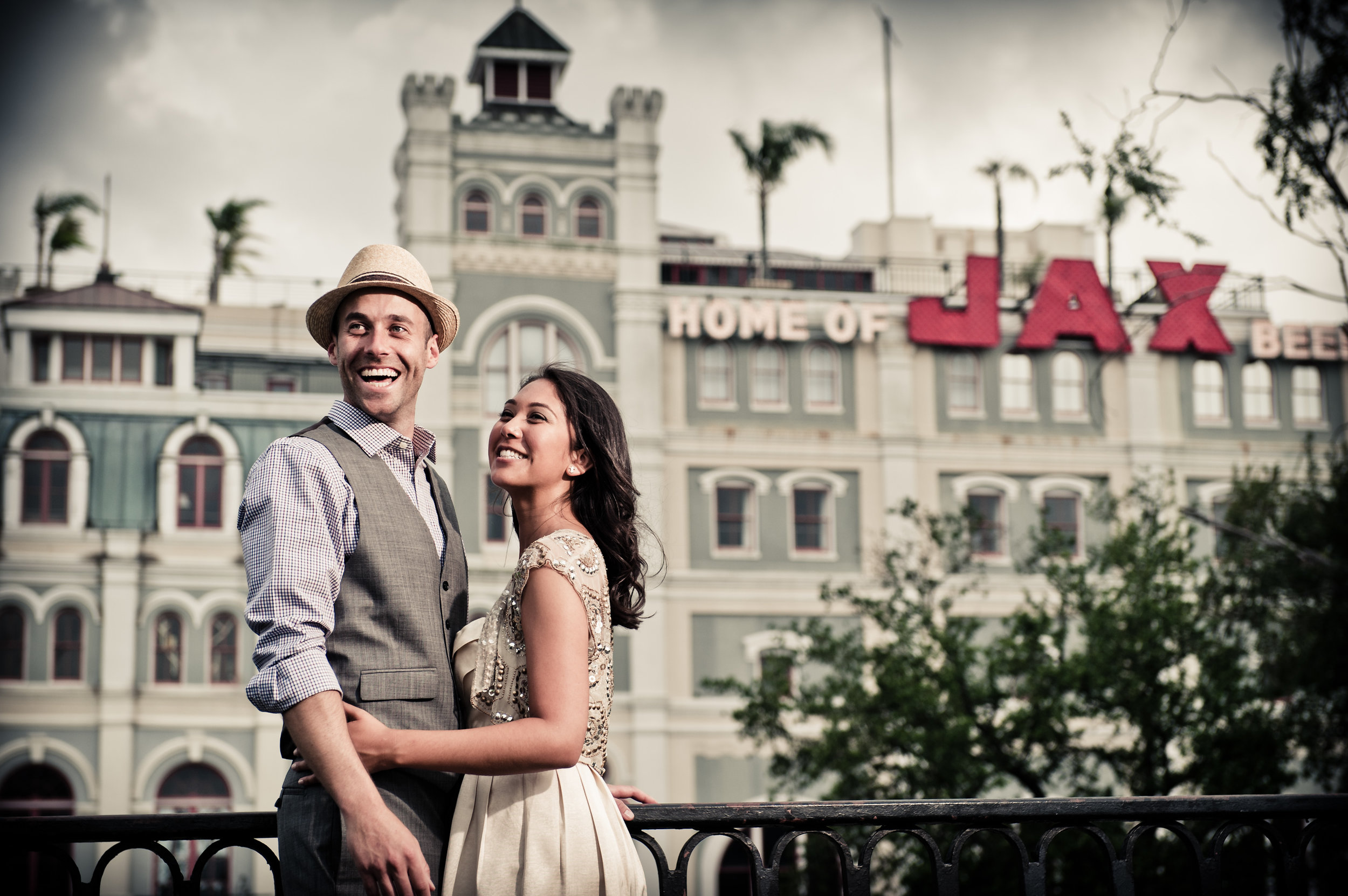 Wedding portrait in the French Quarter, New Orleans, in front of the old Jax brewery.