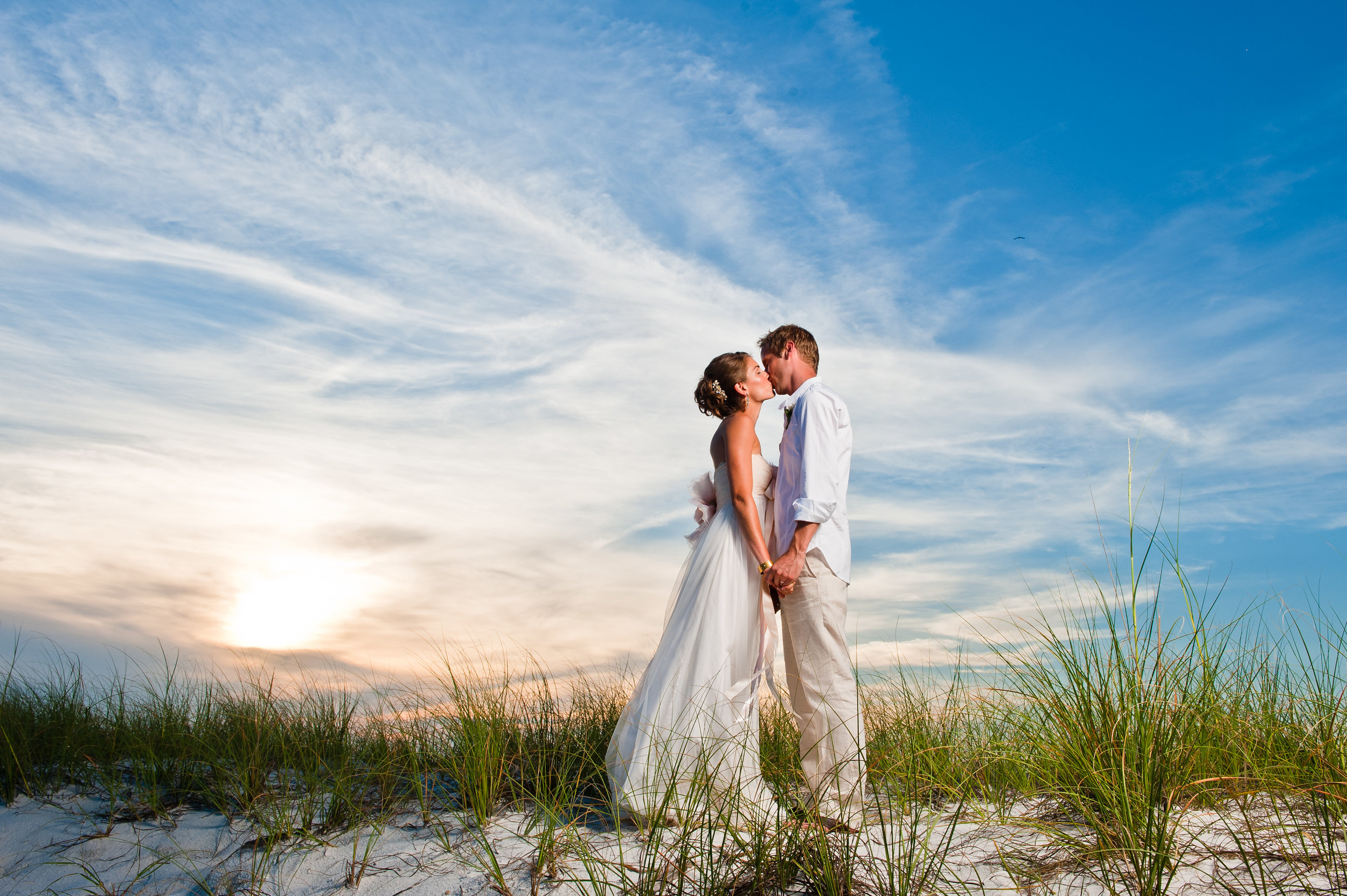 Bride and groom at a destination beach wedding in Florida, photographed by Scott Myers