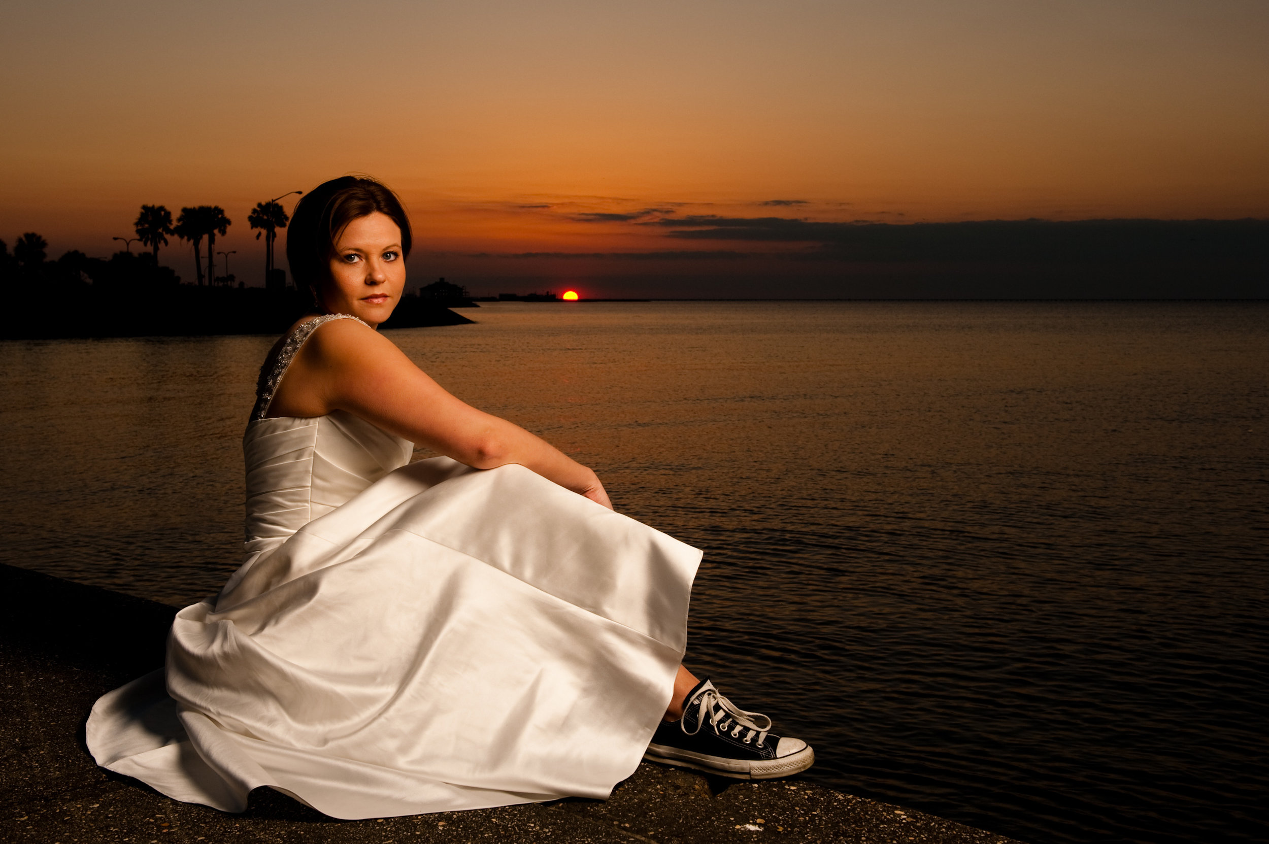 Bridal portrait on Lake Ponchartrain, New Orleans