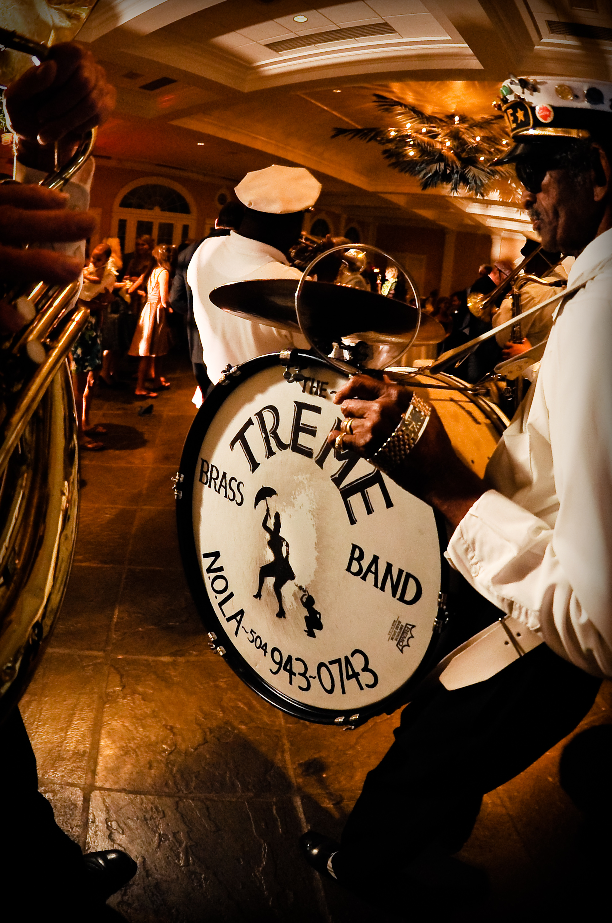 The historic Treme Brass band plays a wedding in the French Quarter, New Orleans