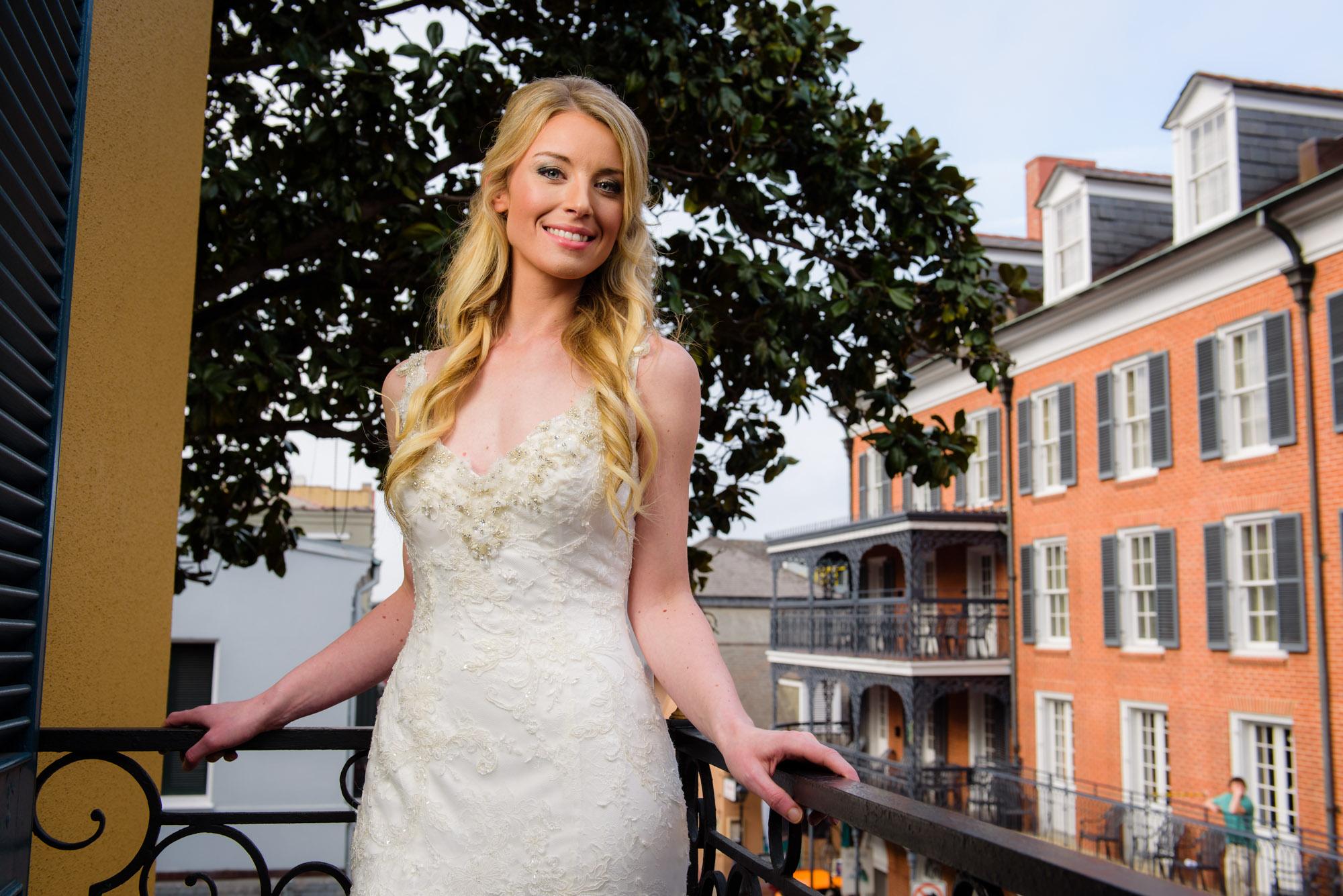 Bridal portrait at New Orleans' Hotel Mazarin
