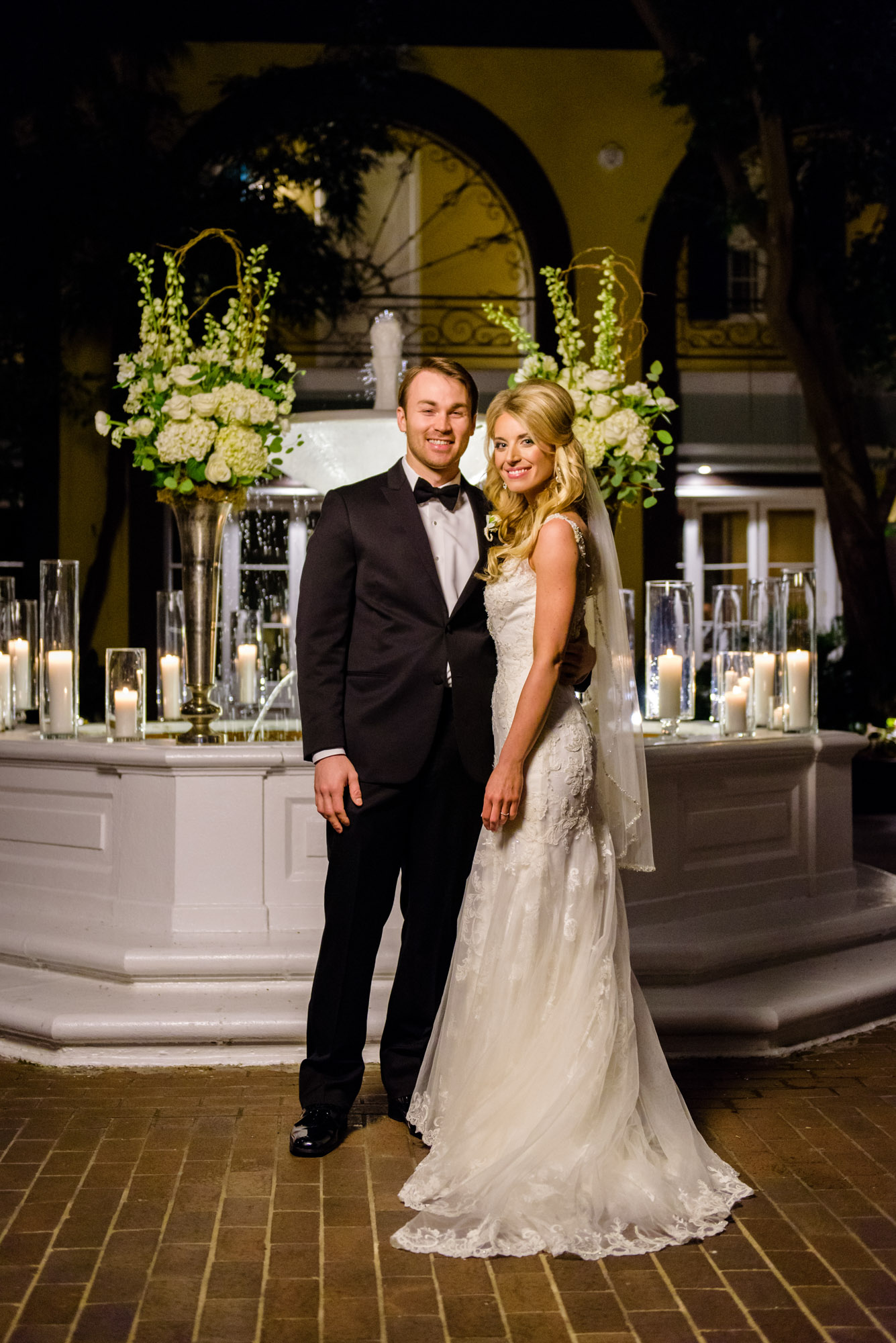 Bride and groom at New Orleans' Hotel Mazarin