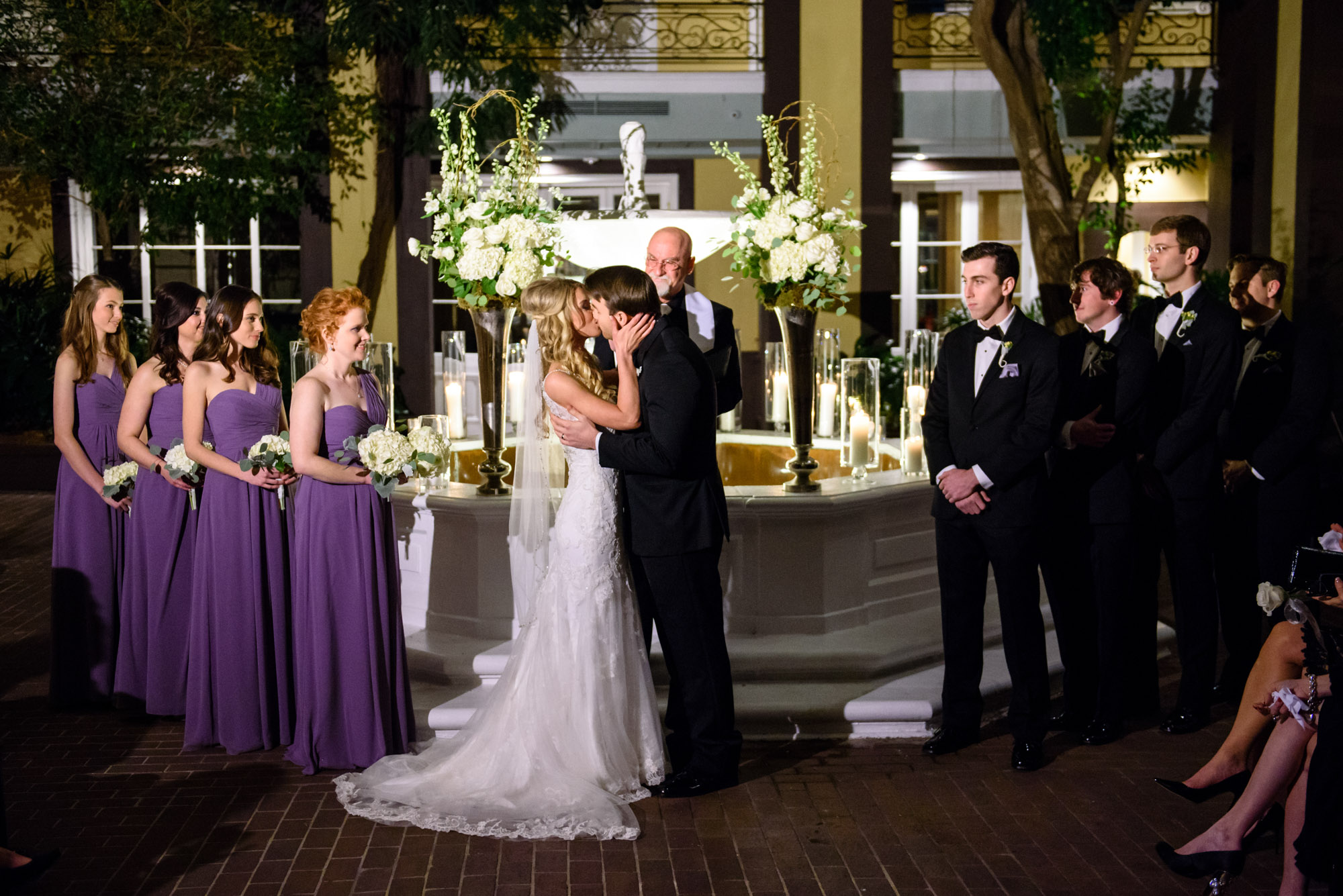 Night time wedding ceremony at New Orleans' Hotel Mazarin