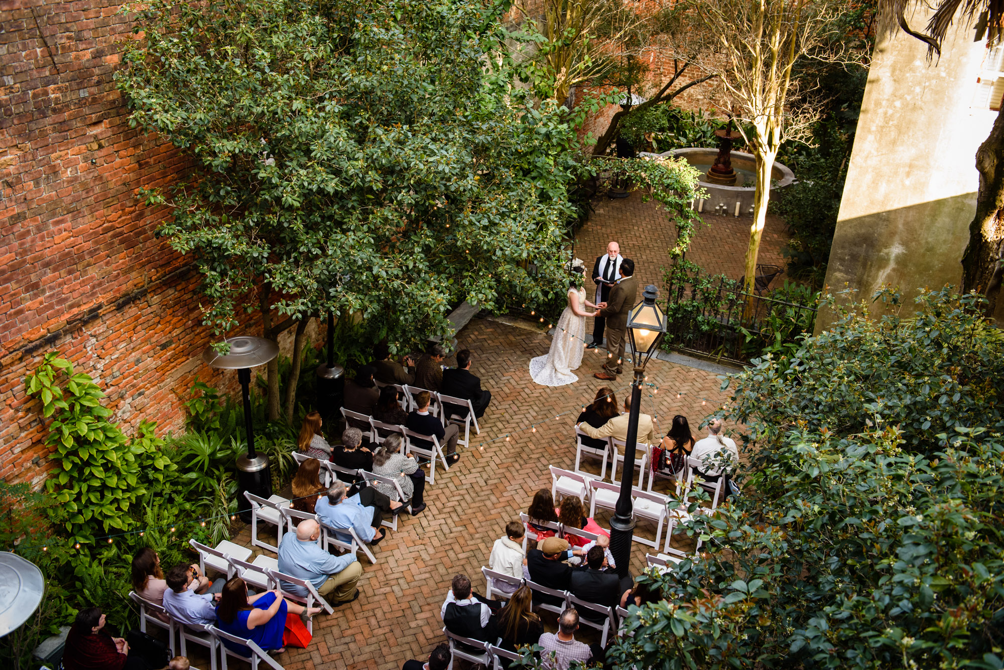 Overhead shot of Wedding ceremony at the New Orleans Pharmacy Museum, photographed by Scott Myers