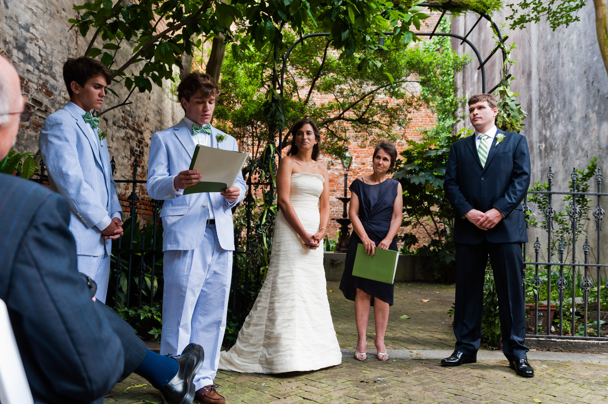 Reading at Wedding ceremony at the New Orleans Pharmacy Museum, photographed by Scott Myers
