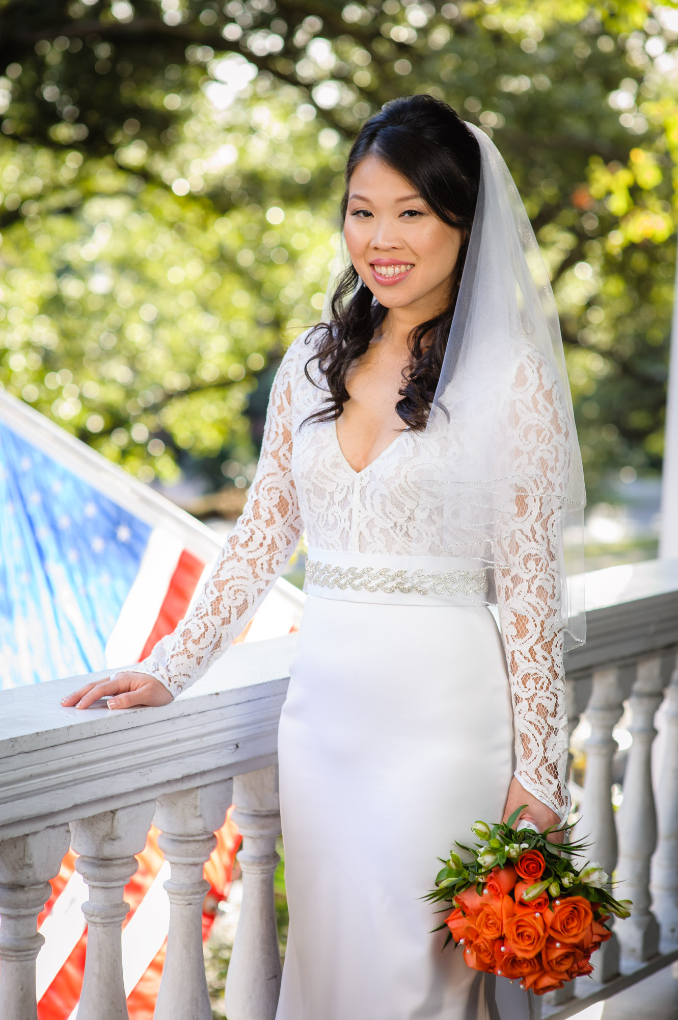 bridal portrait at the Columns Hotel, photographed by Scott Myers