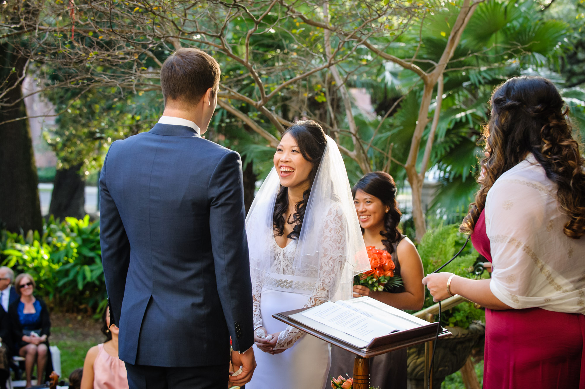 Wedding ceremony at Columns Hotel, photographed by Scott Myers