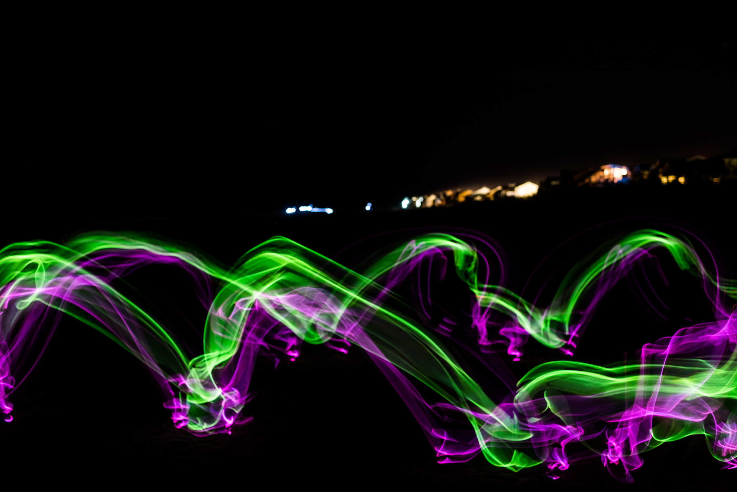 T's light trails resulting from cartwheels
