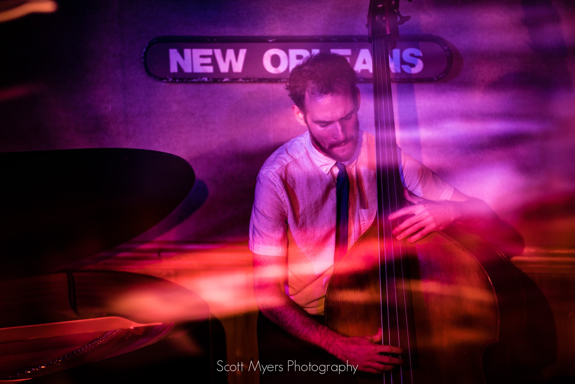 Bassist Matt Booth at Snug Harbor, New Orleans, by Scott Myers