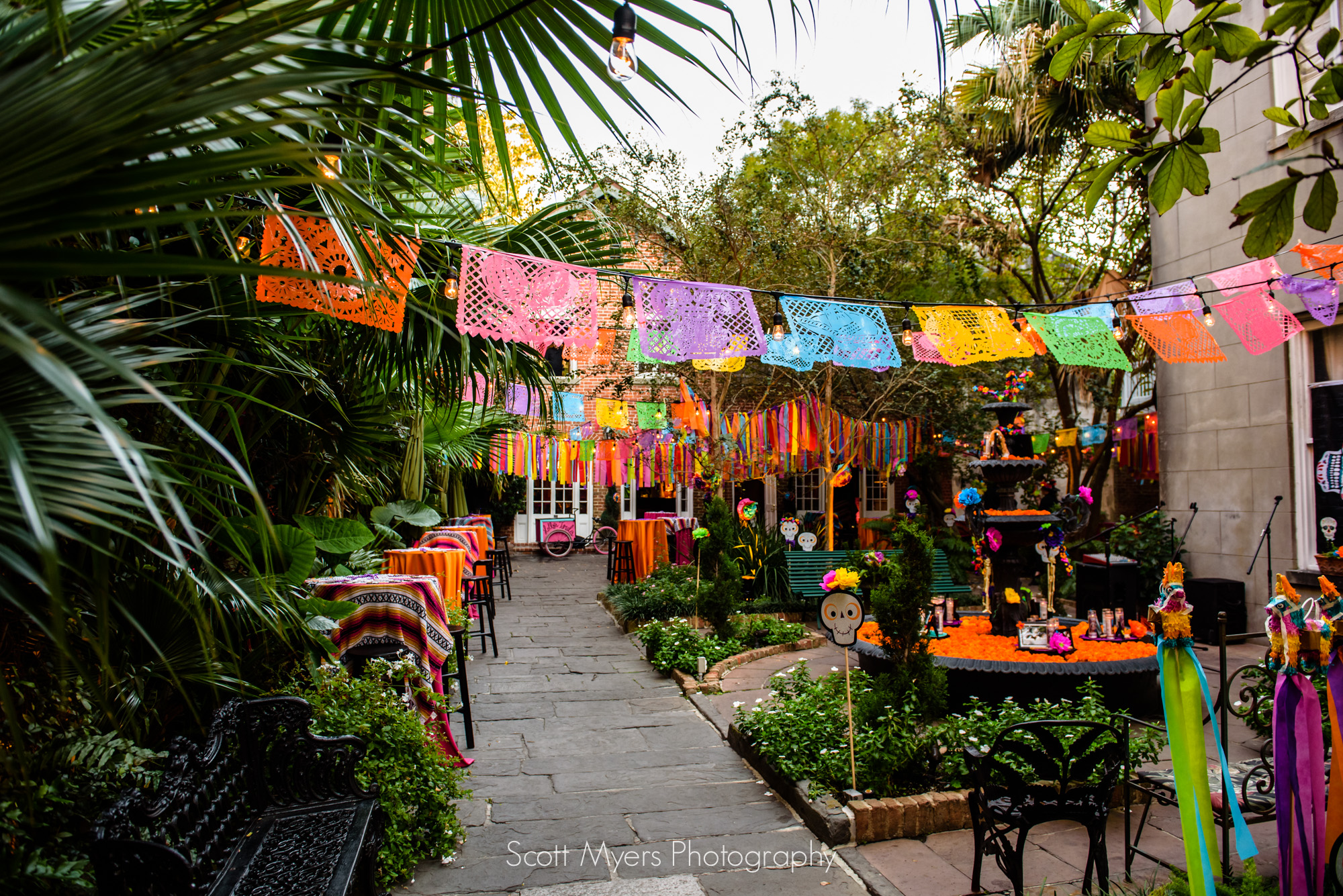 Day of the dead decorations at Cafe Amelie, New Orleans, French Quarter
