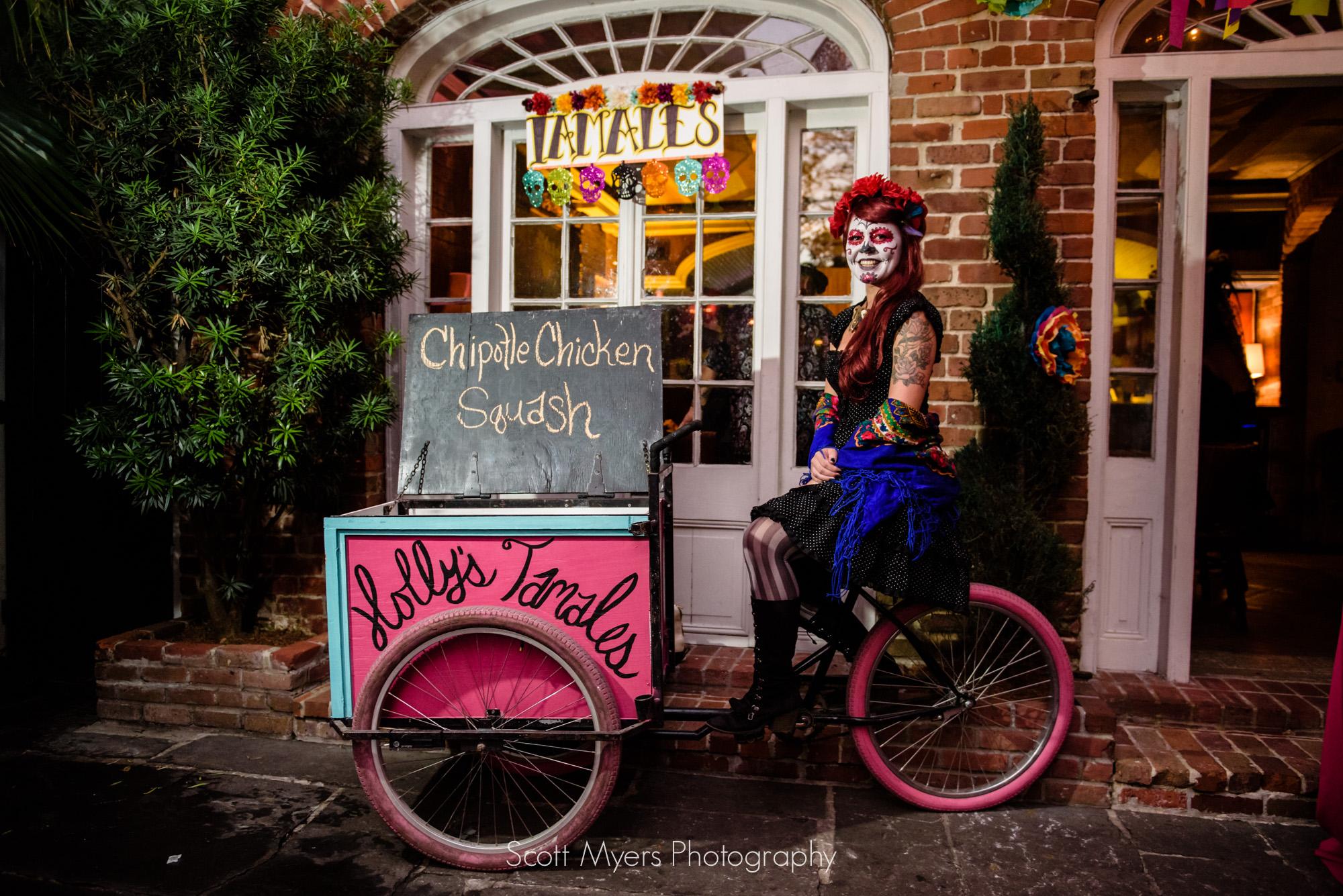 Tamale vendor, Cafe Amelie, New Orleans