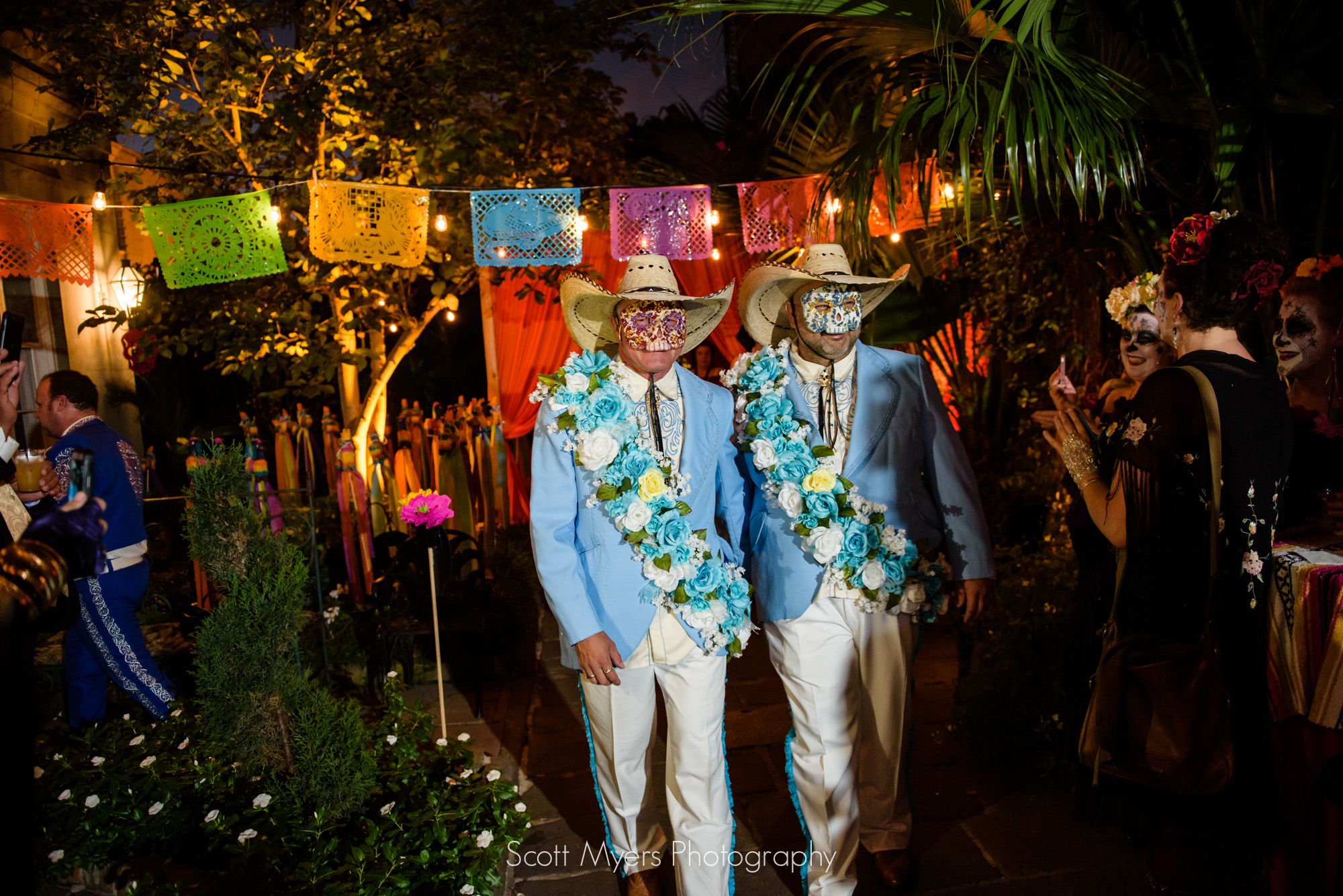 Groom and Groom entering the wedding, Cafe Amelie, New Orleans