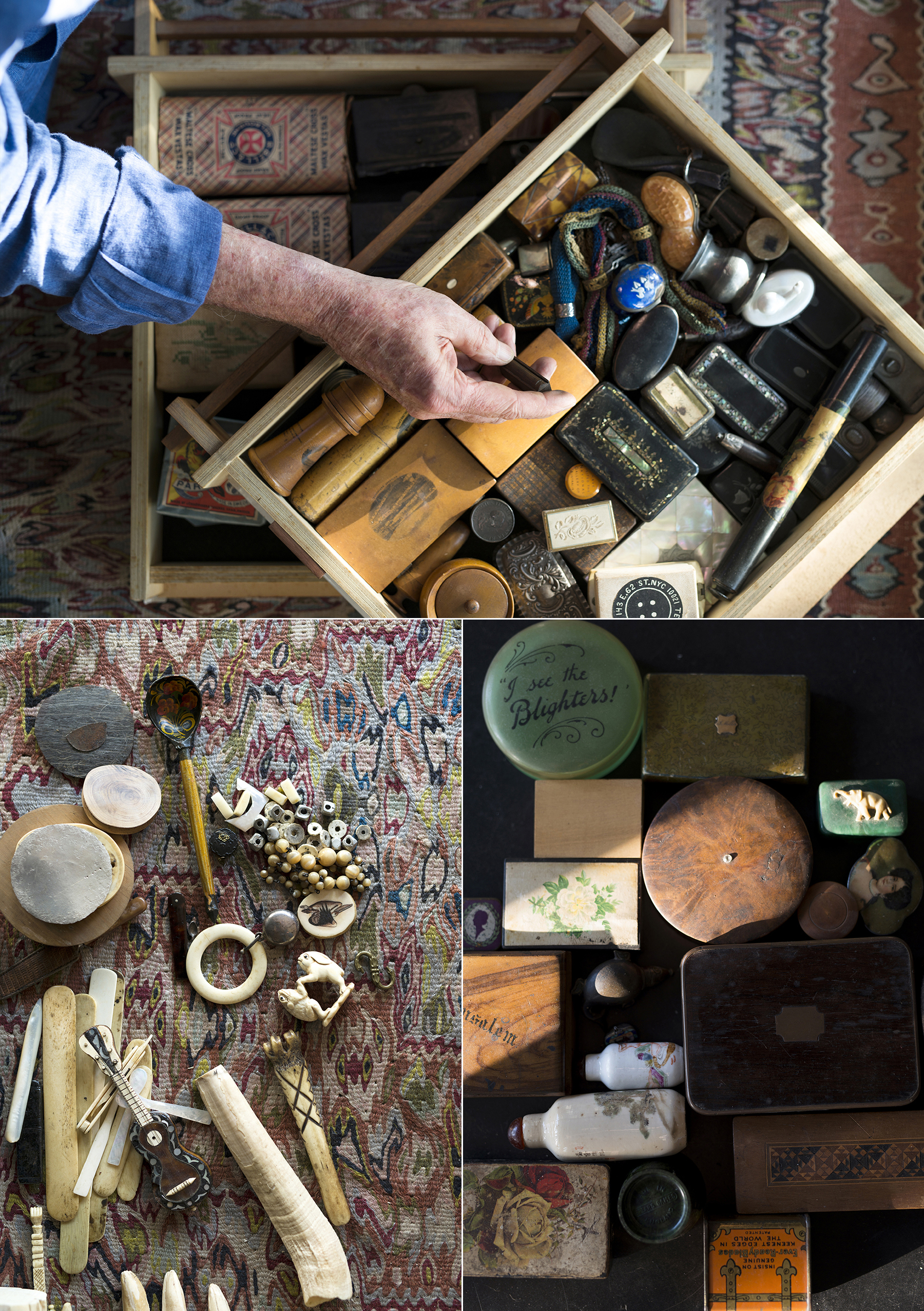 TOP: Pill boxes and trinkets. BOTTOM LEFT: Some bits from the bone, ivory and shell collection, including the thigh bone of a deer and a Georgian Apple Corer. BOTTOM RIGHT: Snuff boxes.