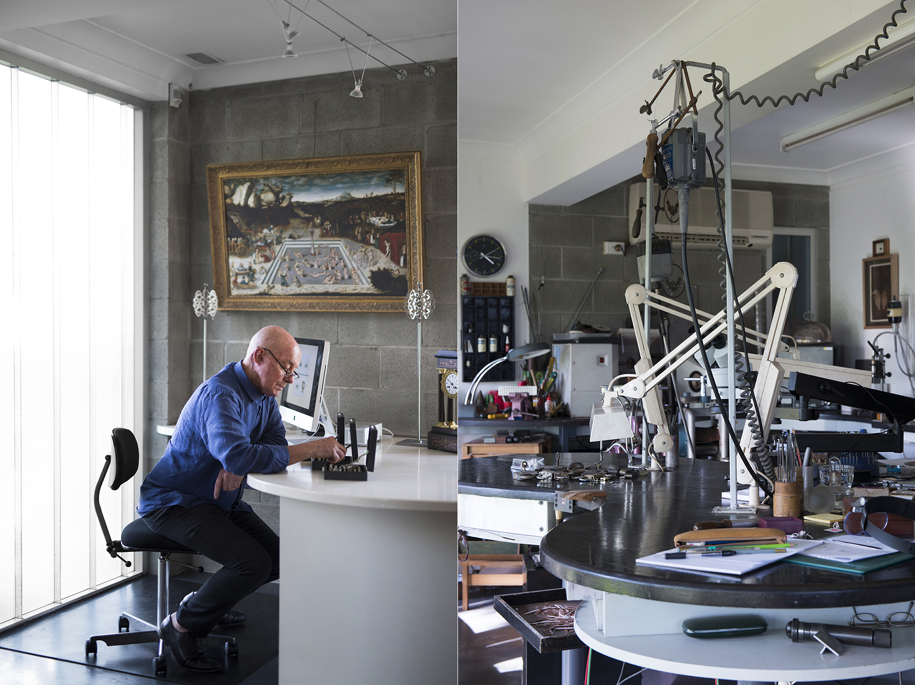 LEFT: Mal mans the Jeweller to the Lost studio desk. RIGHT: Studio workbenches.