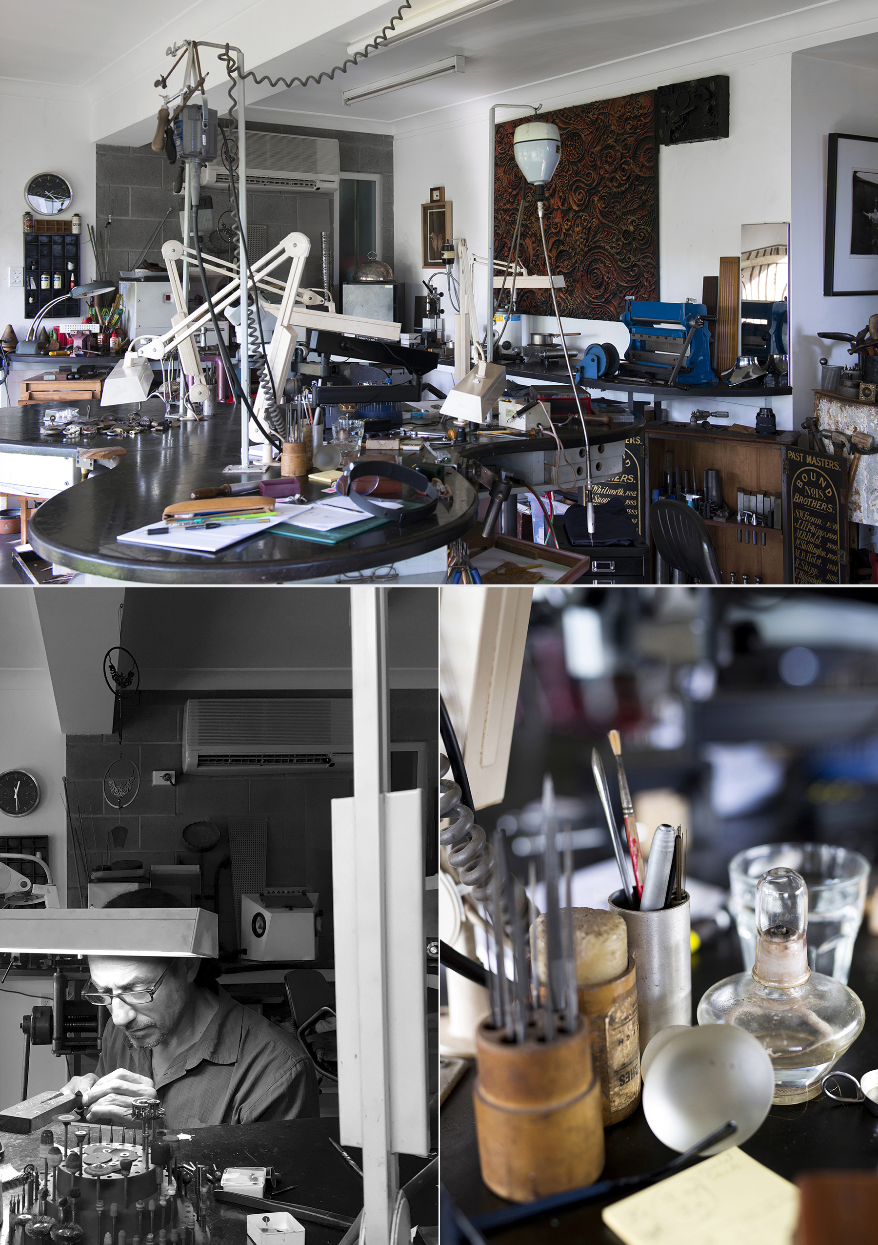 TOP: View of studio workbenches and the menagerie of equipment. BOTTOM LEFT: Juan-Luis at the bench. BOTTOM RIGHT: Studio details.