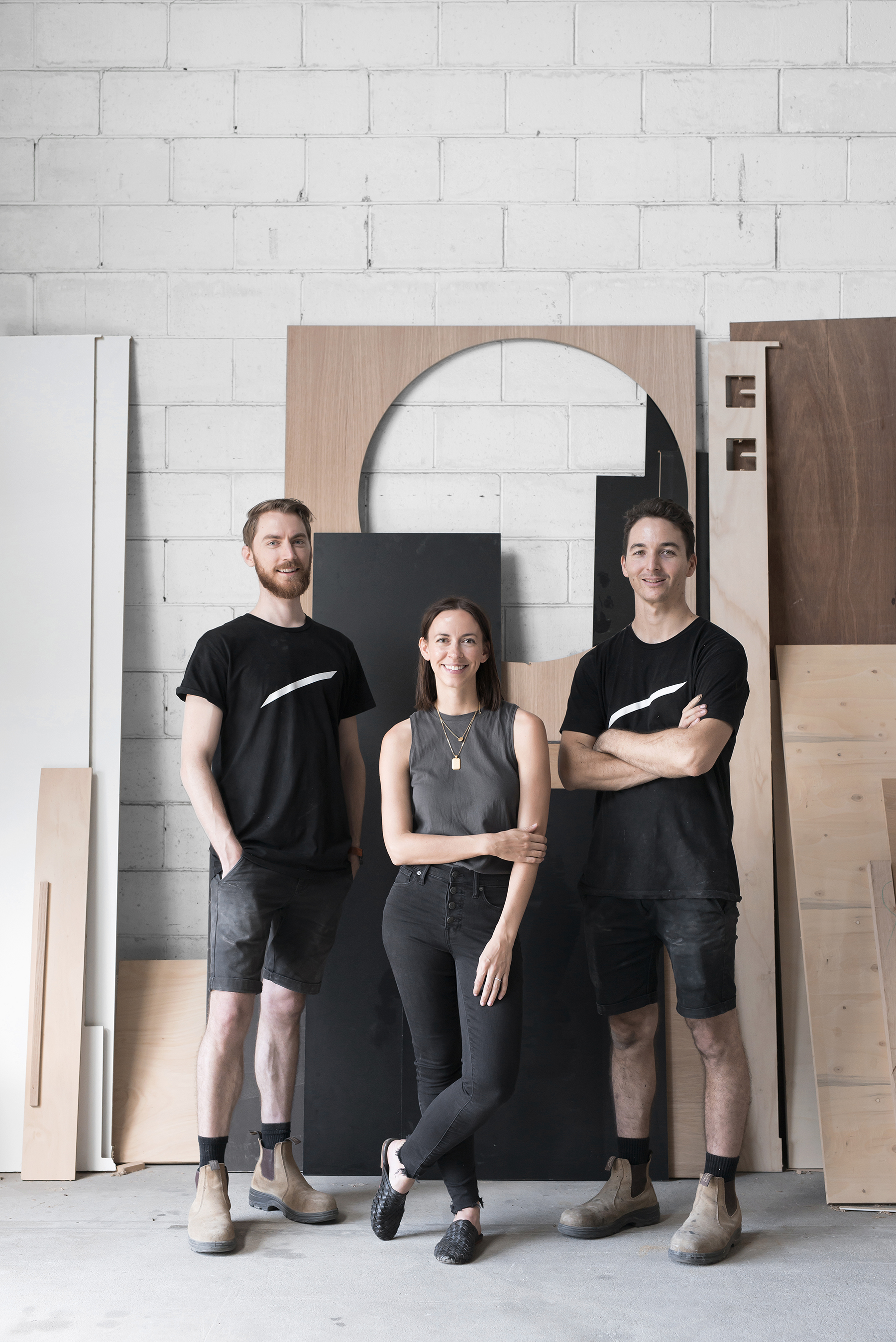 LEFT to RIGHT: Christian Hakansson, Kati Morgan and Rory Morgan in the Mast workshop in north Brisbane.